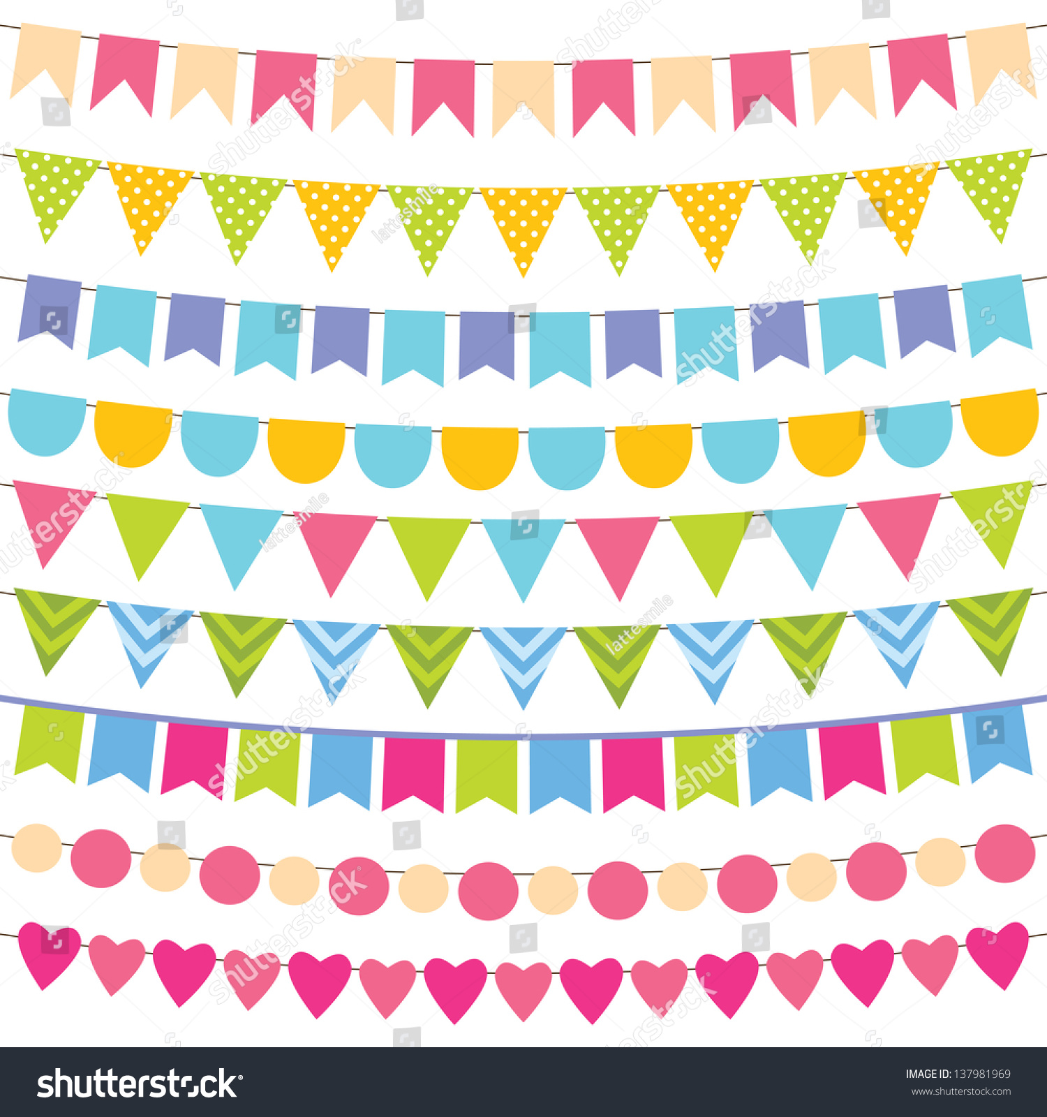 Vector Birthday Party Decoration Stock Vector 137981969