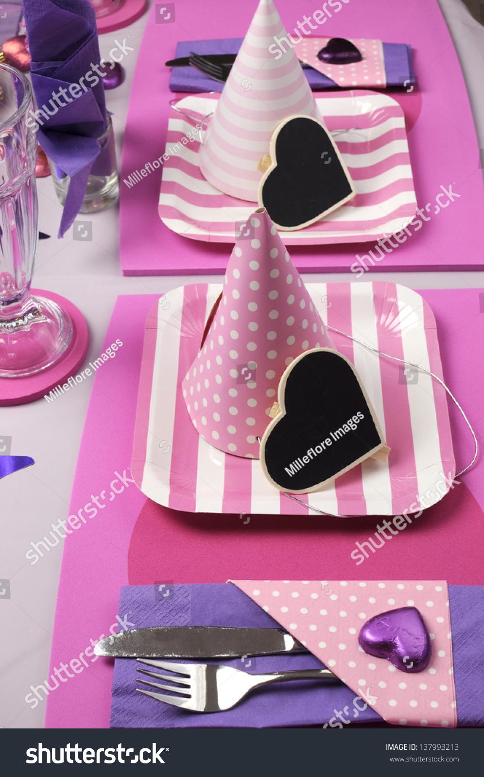 13 best Purple Table Settings images on Pinterest | Purple ... |Pink And Purple Table Setting