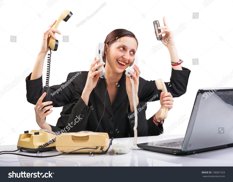 sixarmed secretary phone laptop computer answers stock photo