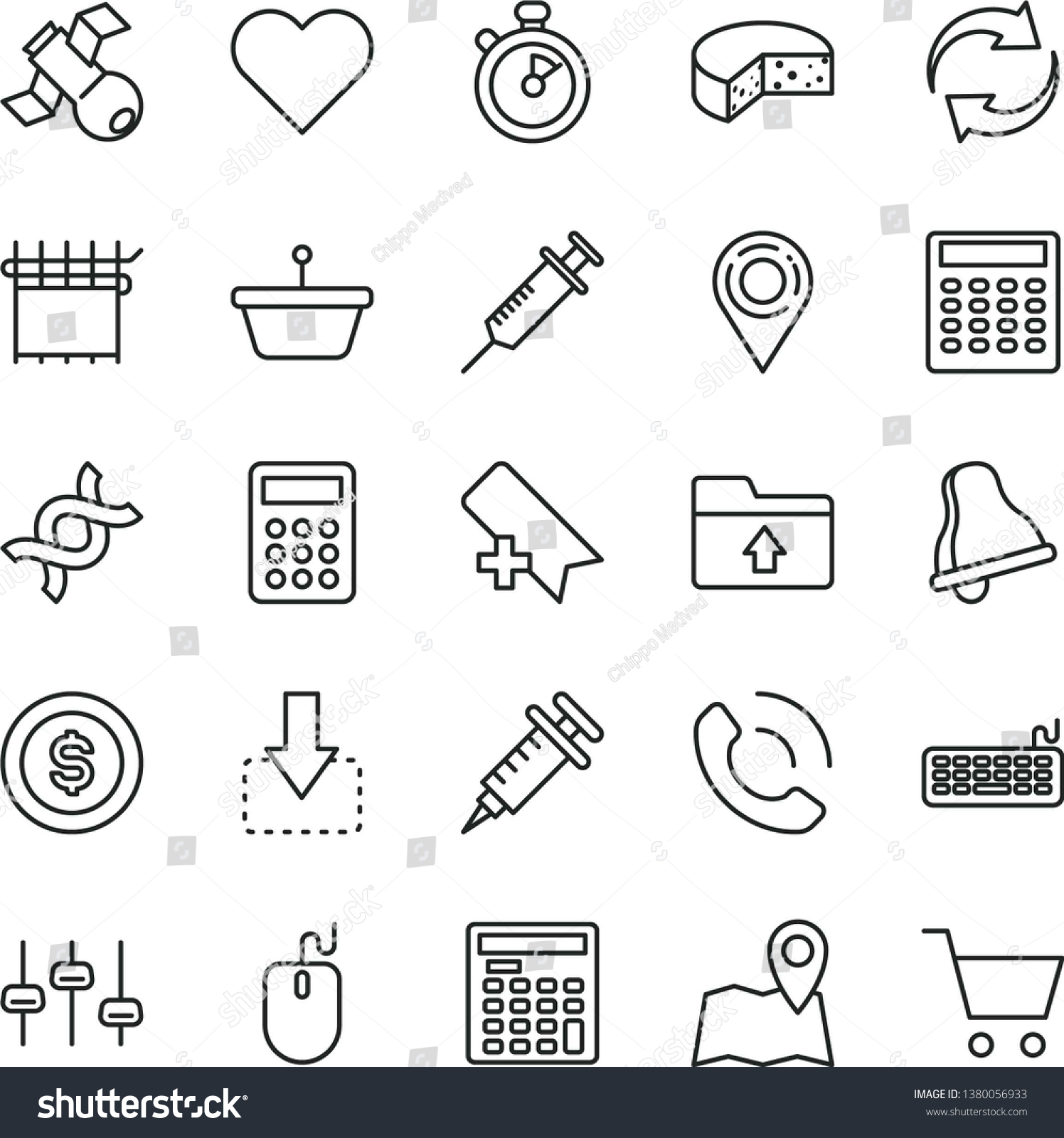 Thin Line Vector Icon Set Bell Stock Vector (Royalty Free