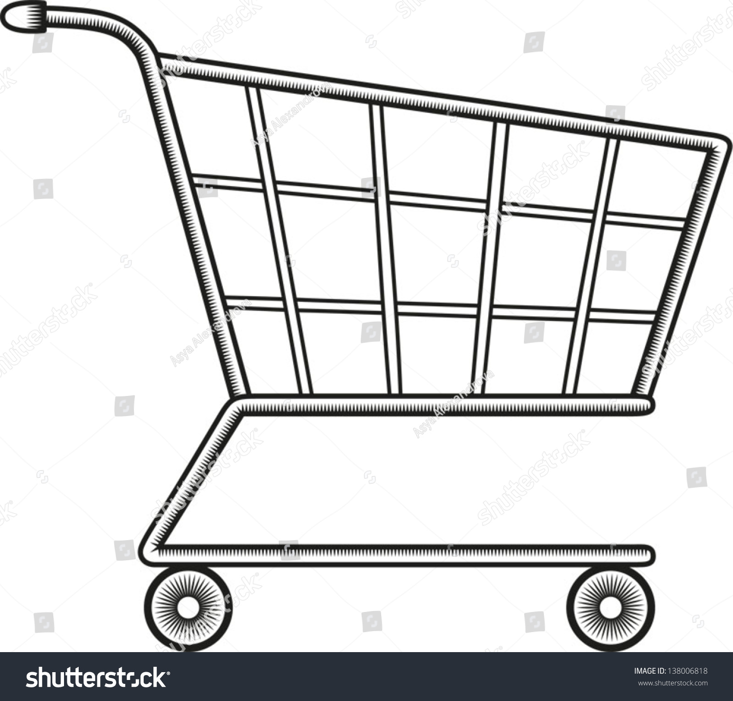 shopping cart template for blogger - line drawing shopping cart vector illustration stock