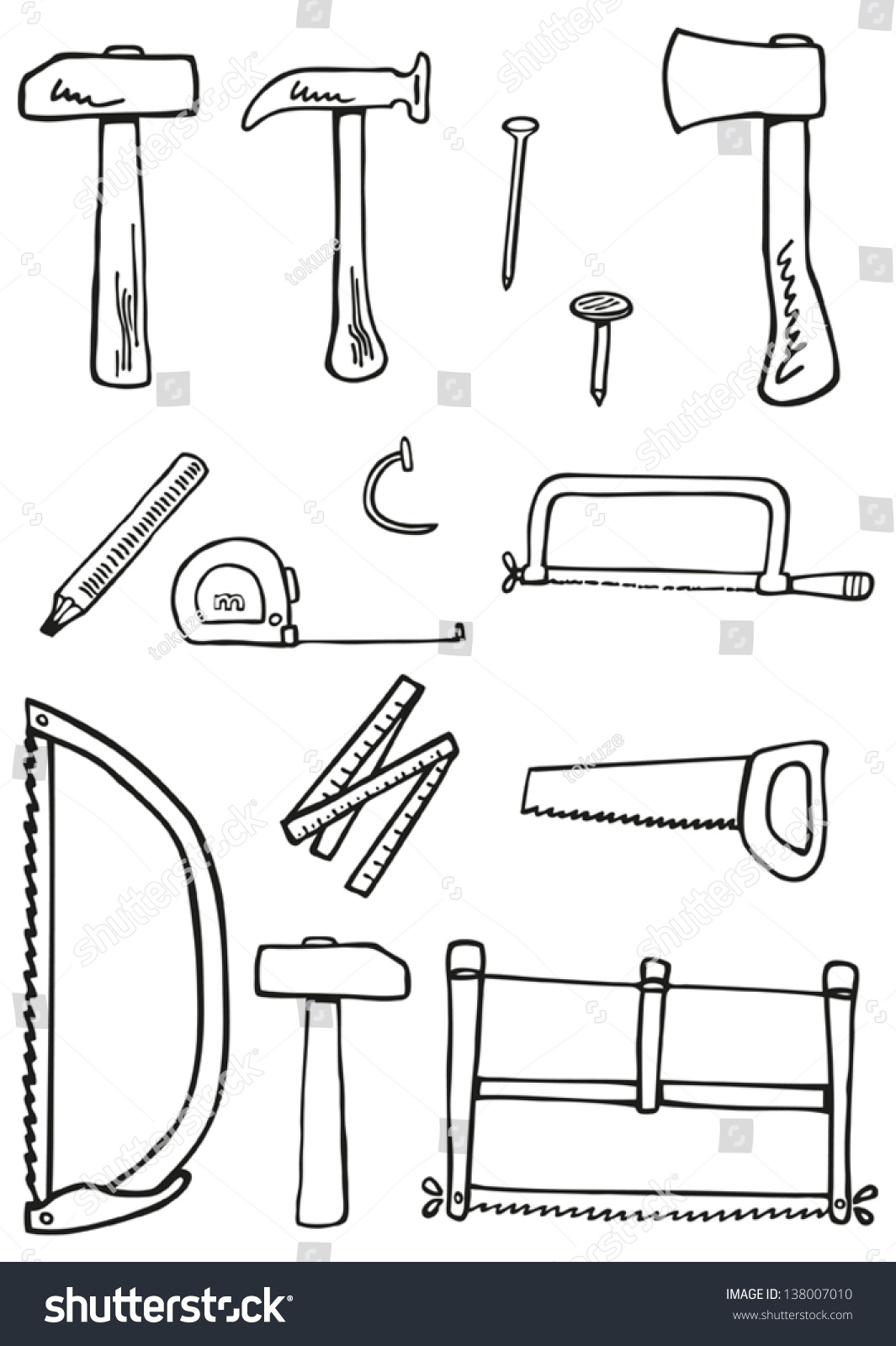 Carpentry Tools Doodles Kit Traditional Carpenter Stock ...