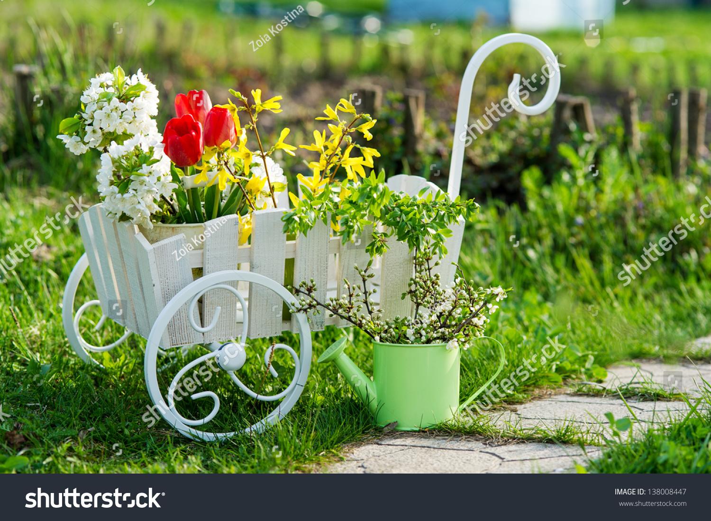 Decorative Vintage Wheelbarrow Full Spring Flowers Stock Photo ...