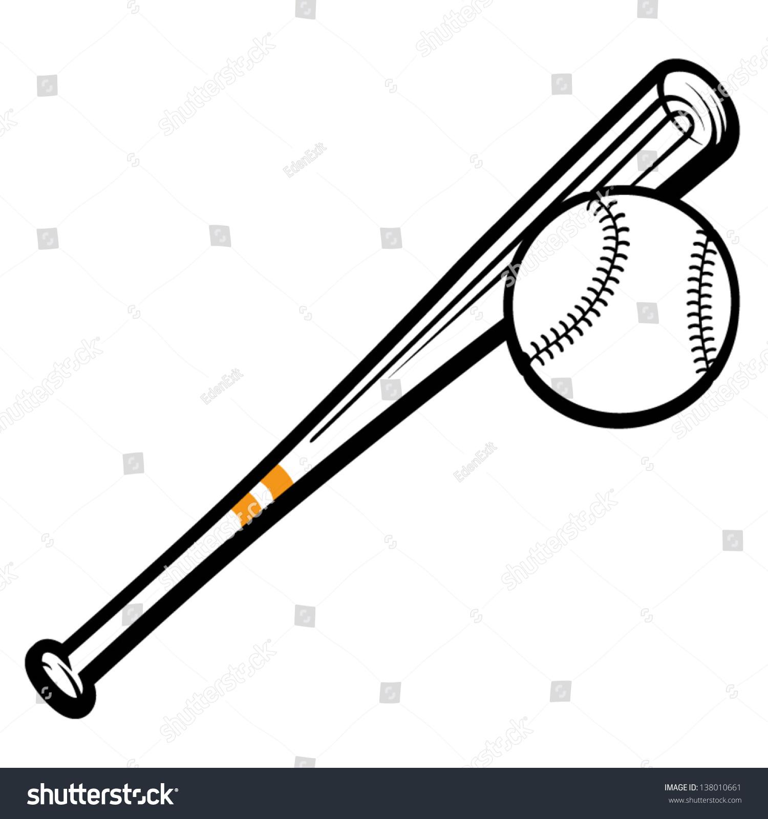 Baseball Bats And Ball Graphic Image Template Stock Vector ...  |Baseball Bat And Ball Vector