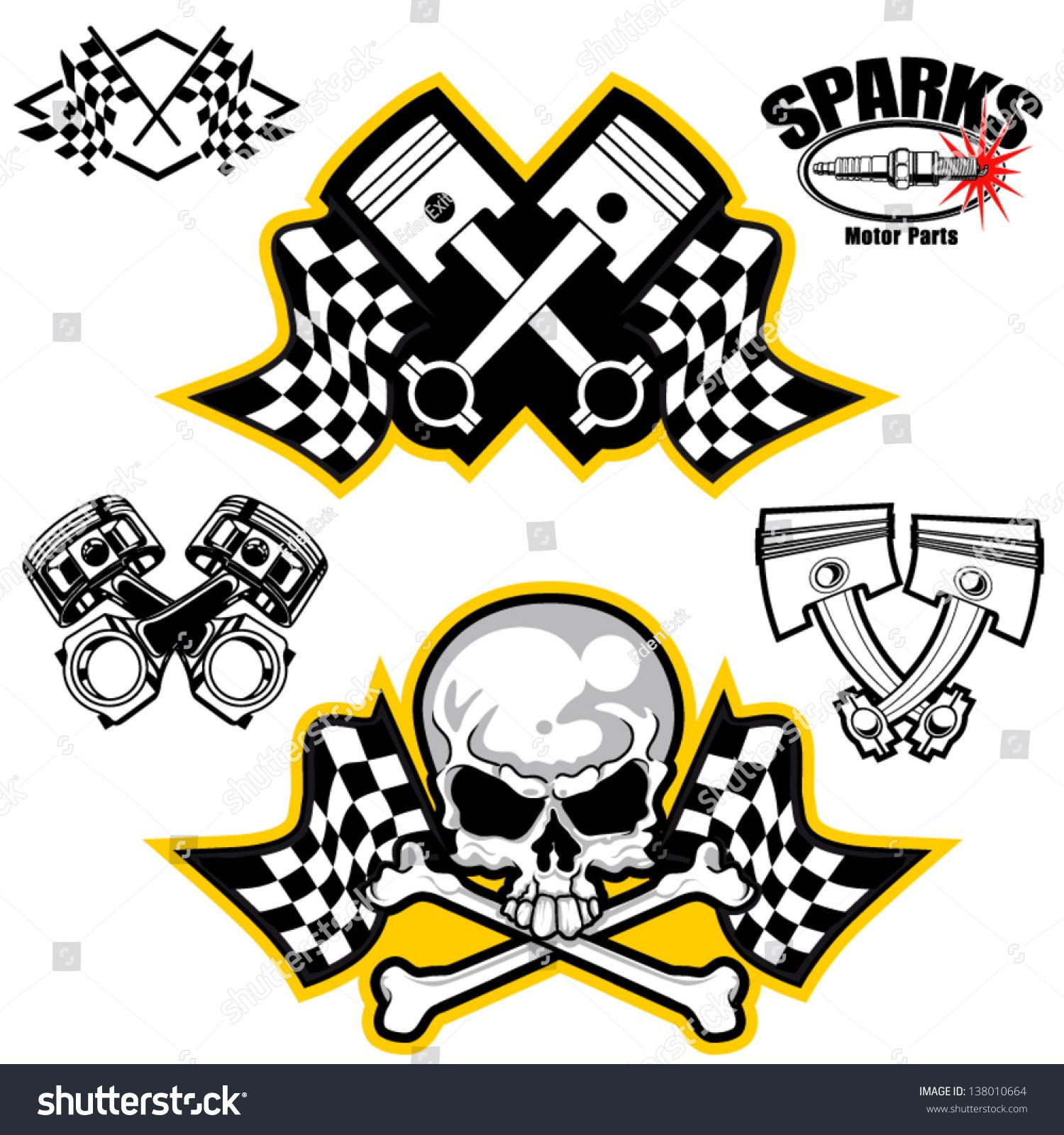 Vector Illustration Car Racing Symbols Stock Vector 2018 138010664