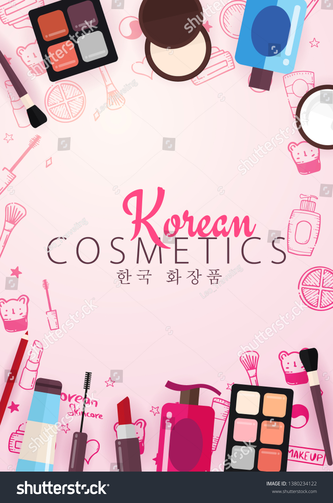 Korean Flat Cosmetics Kbeauty Banner Hand Stock Vector Royalty Free 1380234122