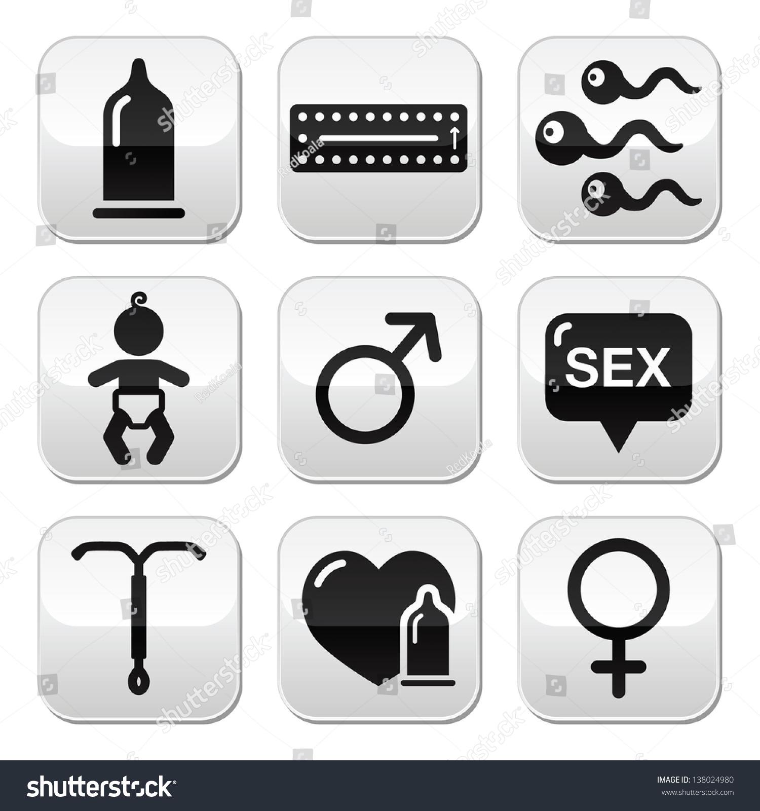 Contraception Methods Sex Vector Buttons Sex Stock Vector ...
