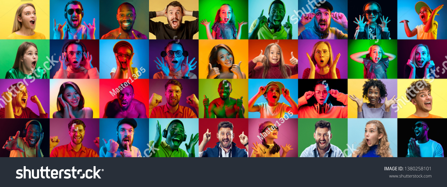 The collage of faces of surprised people on colored backgrounds. Happy men and women smiling. Human emotions, facial expression concept. Different human facial expressions, emotions, feelings #1380258101