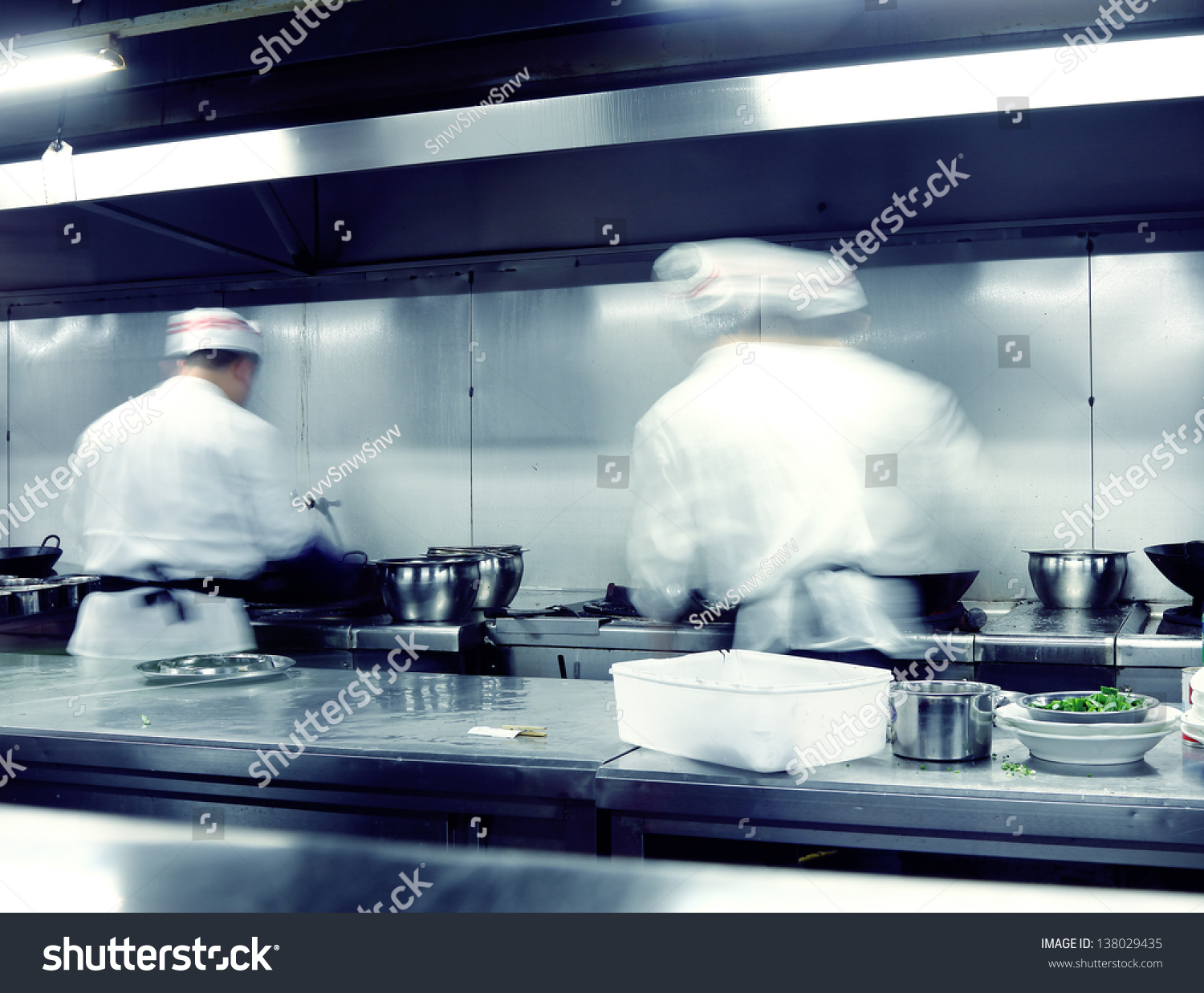 Motion Chefs Restaurant Kitchen Stock Photo (100% Legal Protection ...