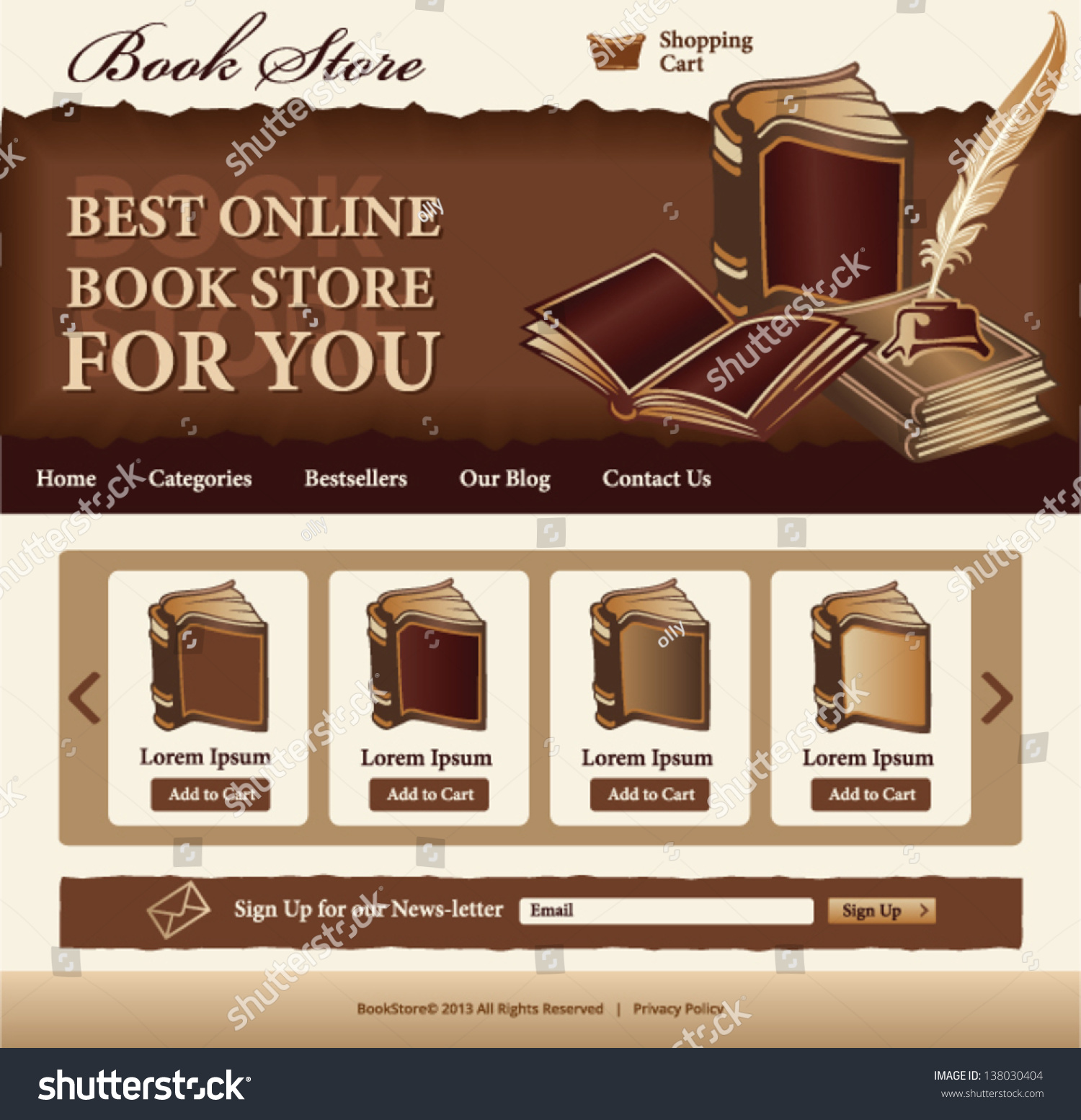 book store template website vintage style stock vector 138030404 shutterstock. Black Bedroom Furniture Sets. Home Design Ideas