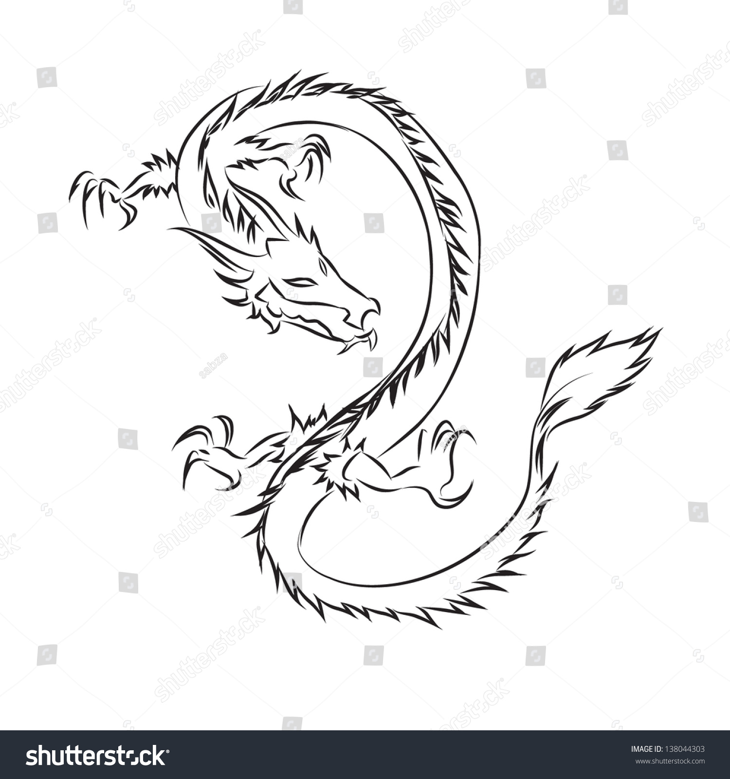 Draw chinese dragonvector illustration stock vector 138044303 draw of chinese dragonvector illustration ccuart Images