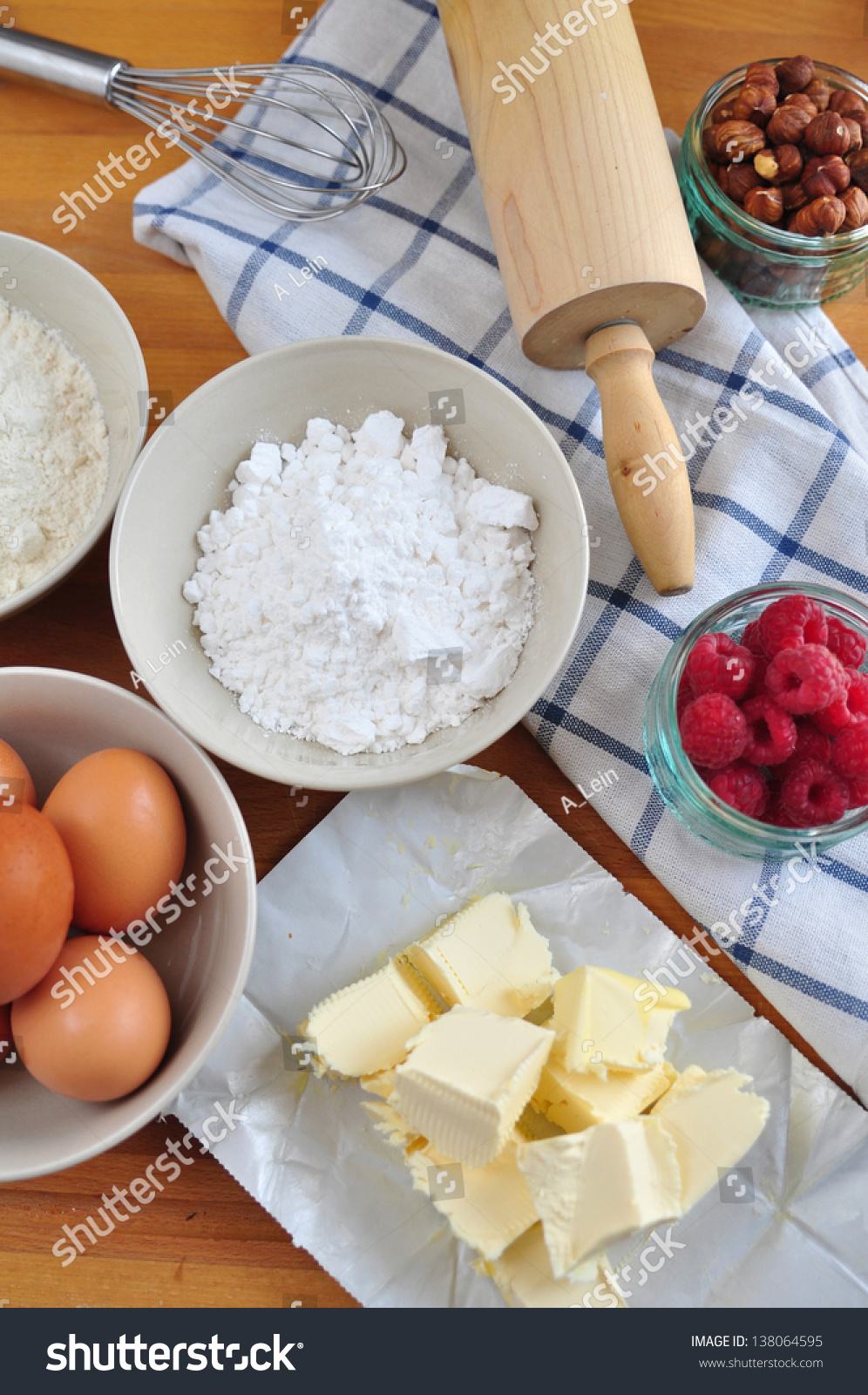 Ingredients For Baking A Cake Stock Photo 138064595