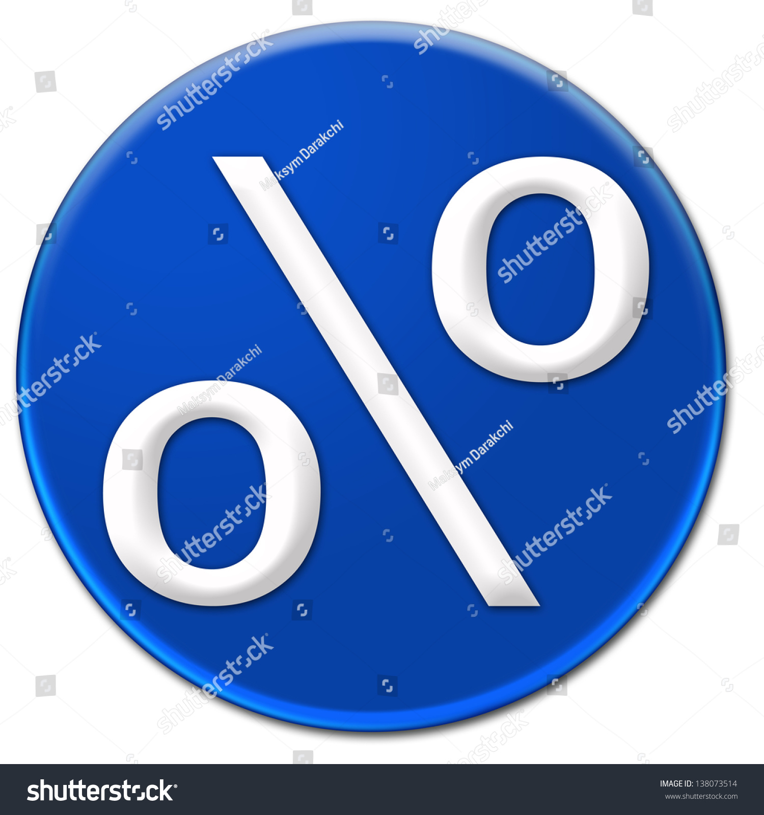White per cent symbol arial font stock illustration 138073514 a white per cent symbol arial font type on a blue glassy button isolated over white buycottarizona Choice Image