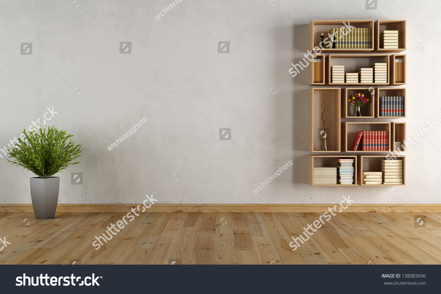 empty interior with wooden wall bookcase rendering