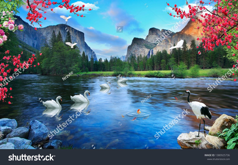 stock photo  d wallpaper design waterfall and sea lake 1380925736