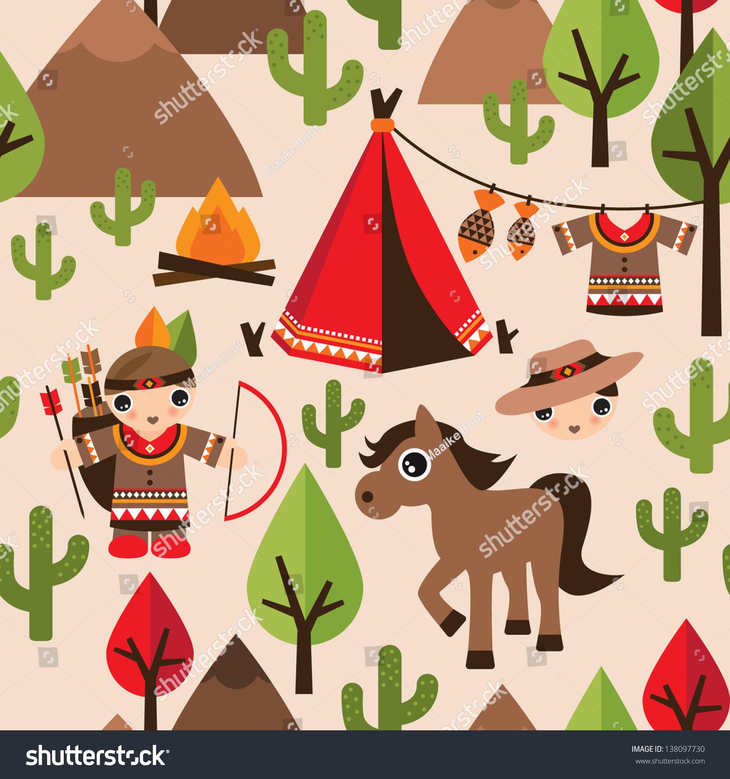 Seamless Cowboy Indian Illustration Decorative Background Stock ...