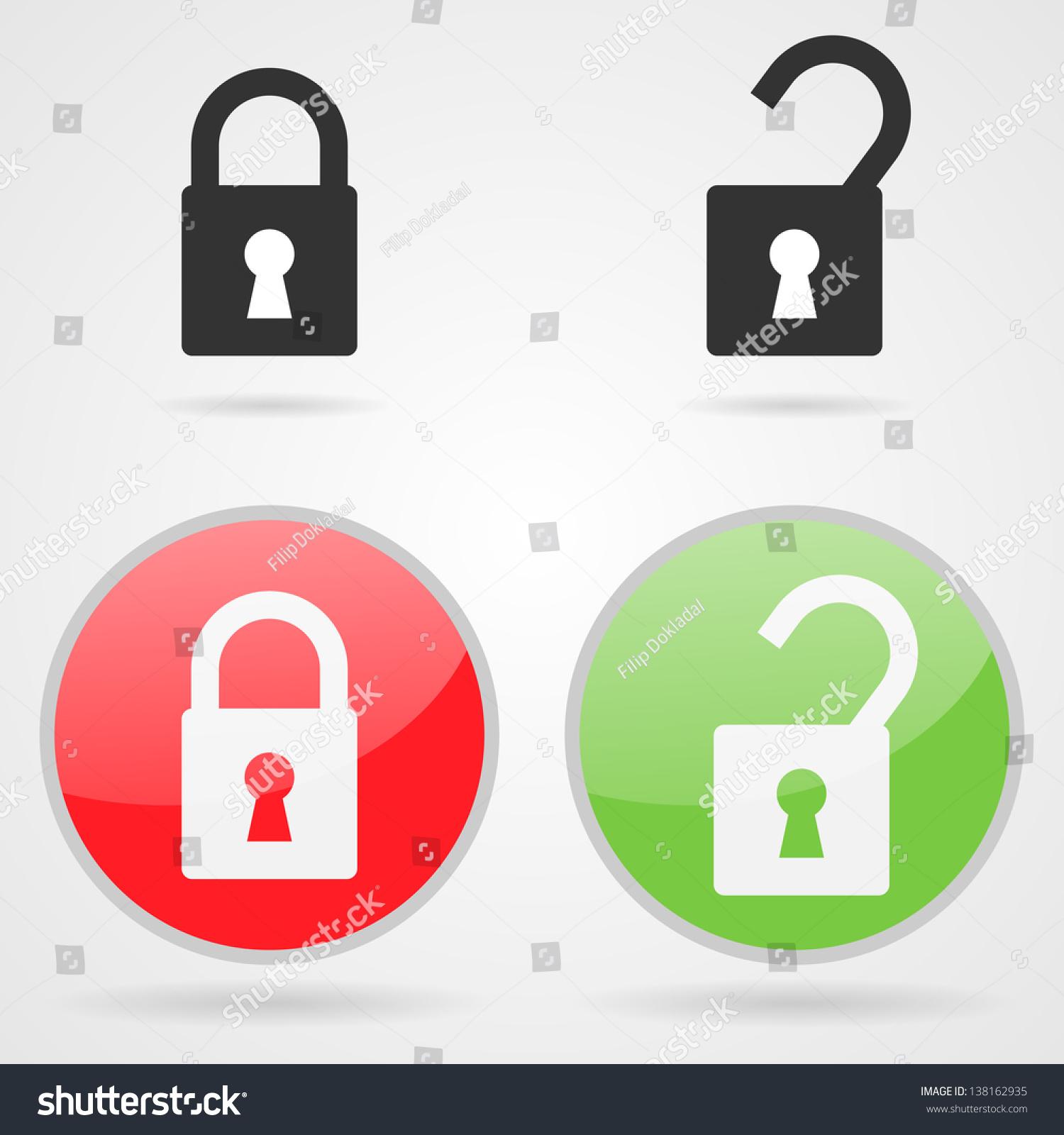 Set Clean Vector Open Close Lock Stock Vector 138162935