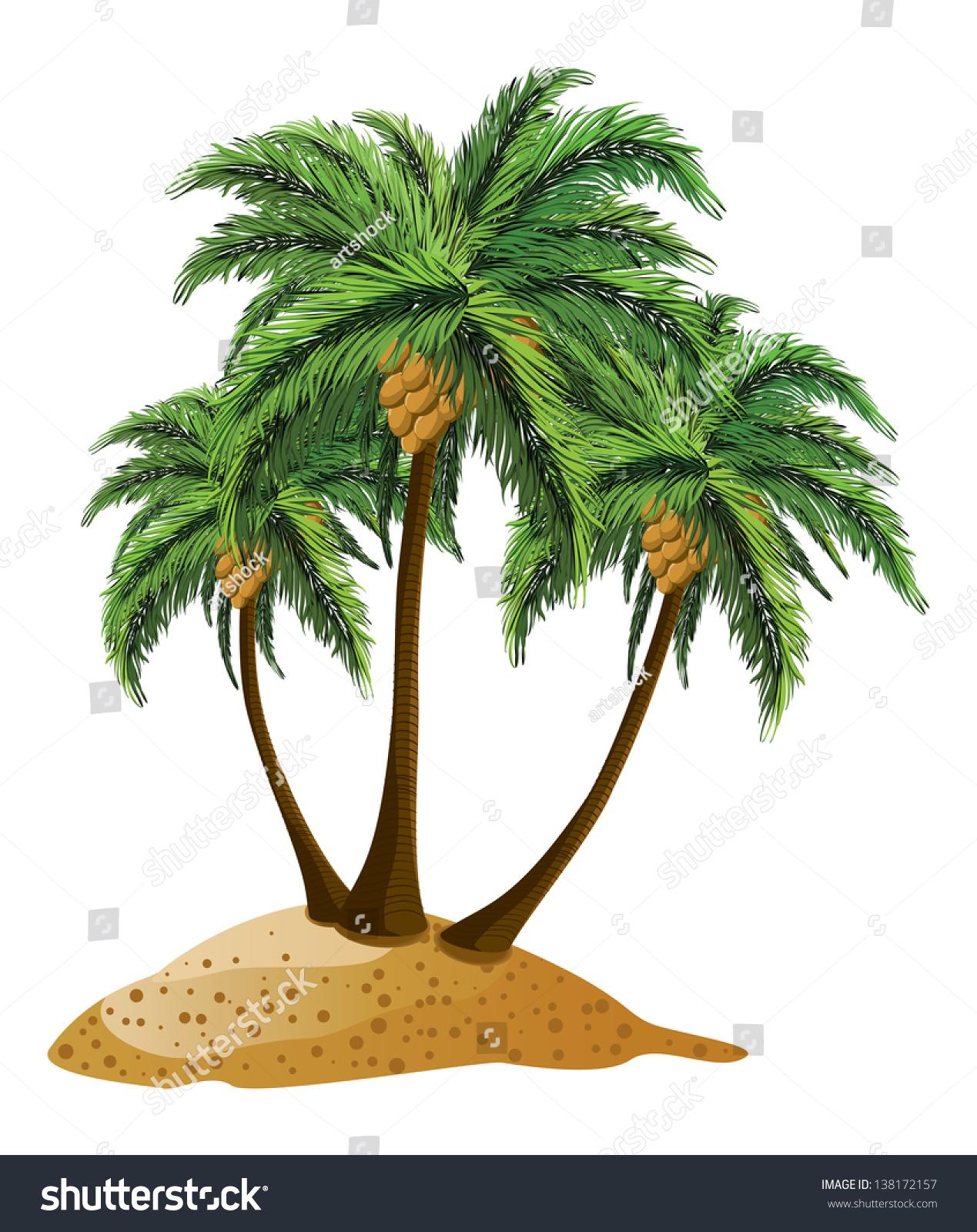 small cartoon island three palm trees stock vector 138172157 shutterstock. Black Bedroom Furniture Sets. Home Design Ideas