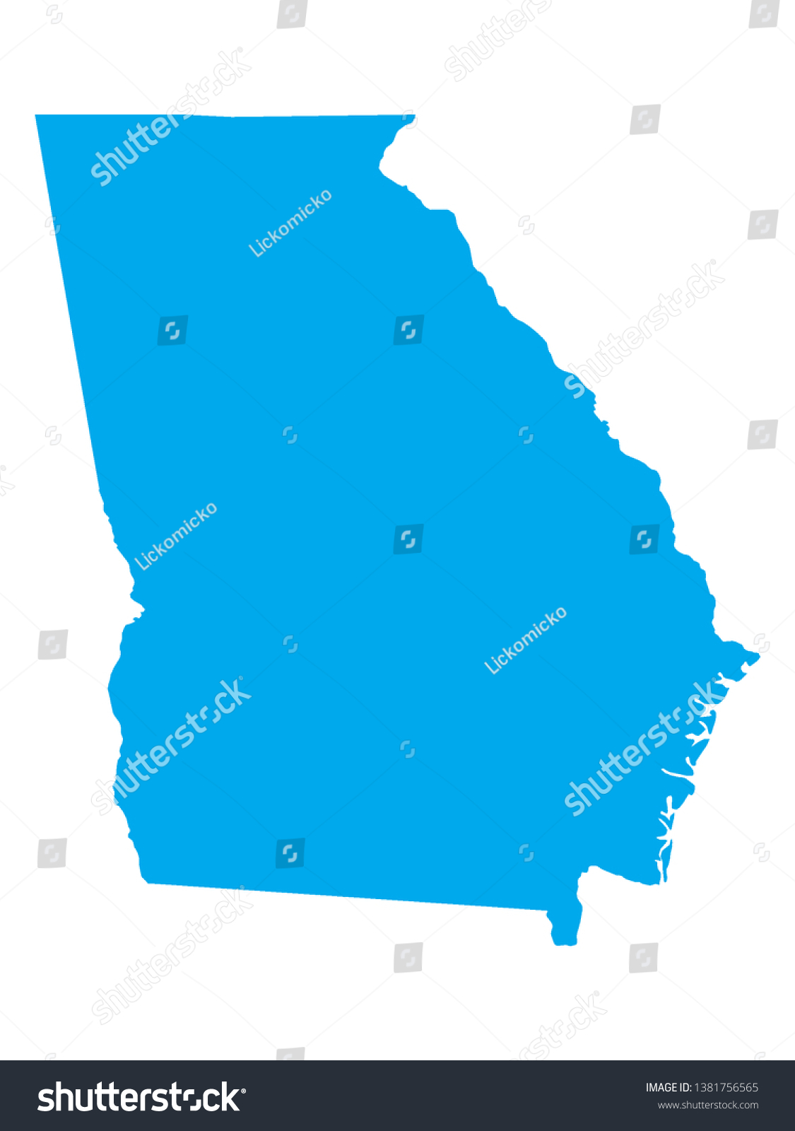 Us Map Of Georgia.Blue Map Us Federal State Georgia Stock Vector Royalty Free