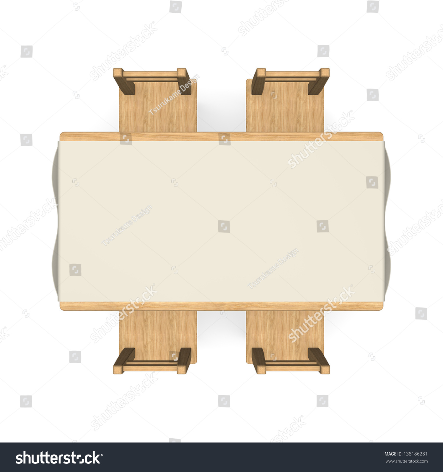Wooden Dining Table Top View Stock Illustration 138186281