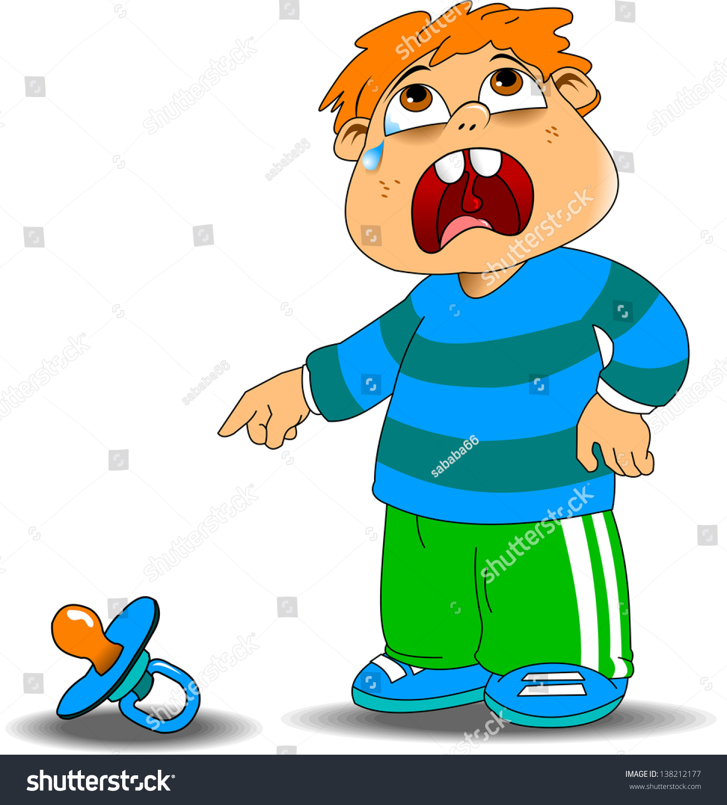 Kid Crying Blue Sweater Because Fallen Stock Vector 138212177 ...