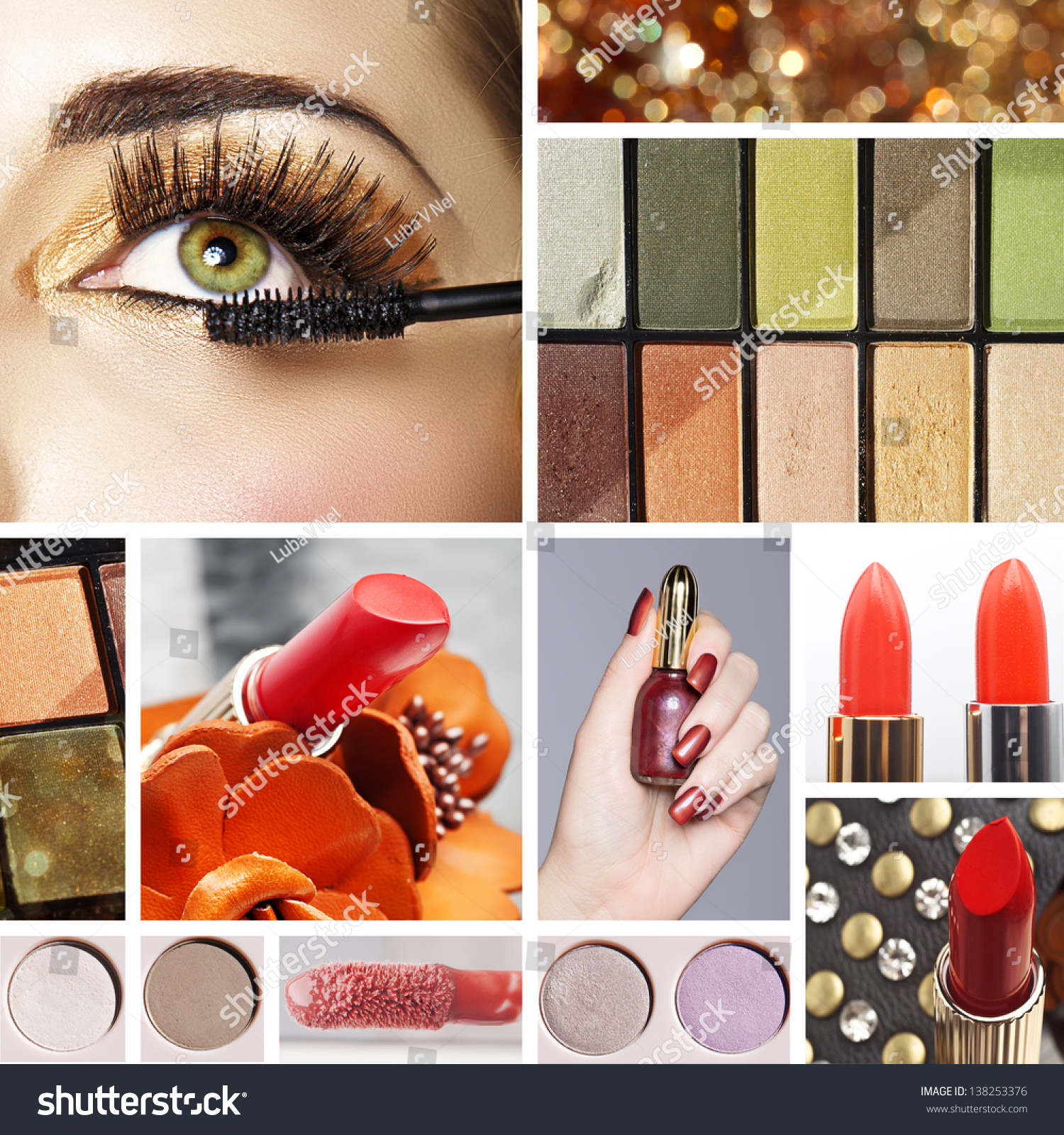 Makeup Mood Board Collage Warm Gold Stock Photo 138253376