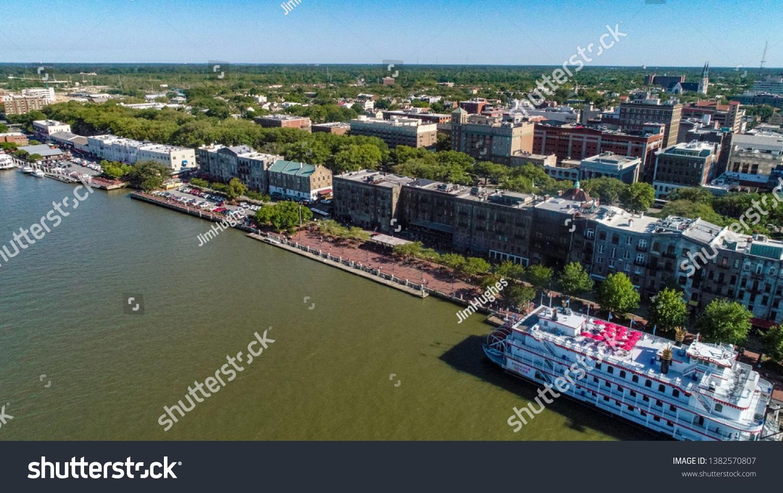 The Savannah Queen riverboat parked at River Street in Savannah Ga #1382570807