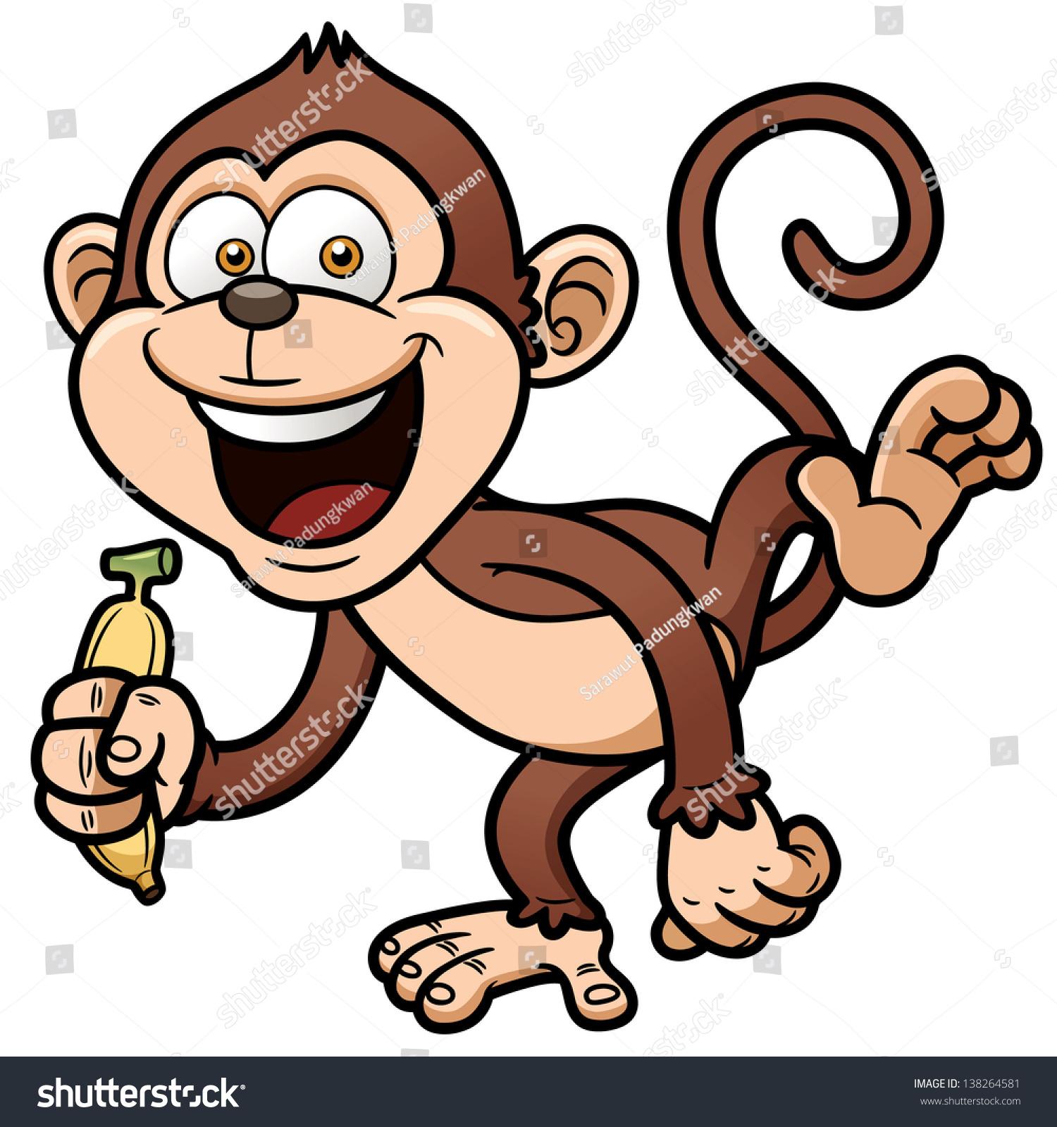 vector illustration cartoon monkey banana stock vector 138264581
