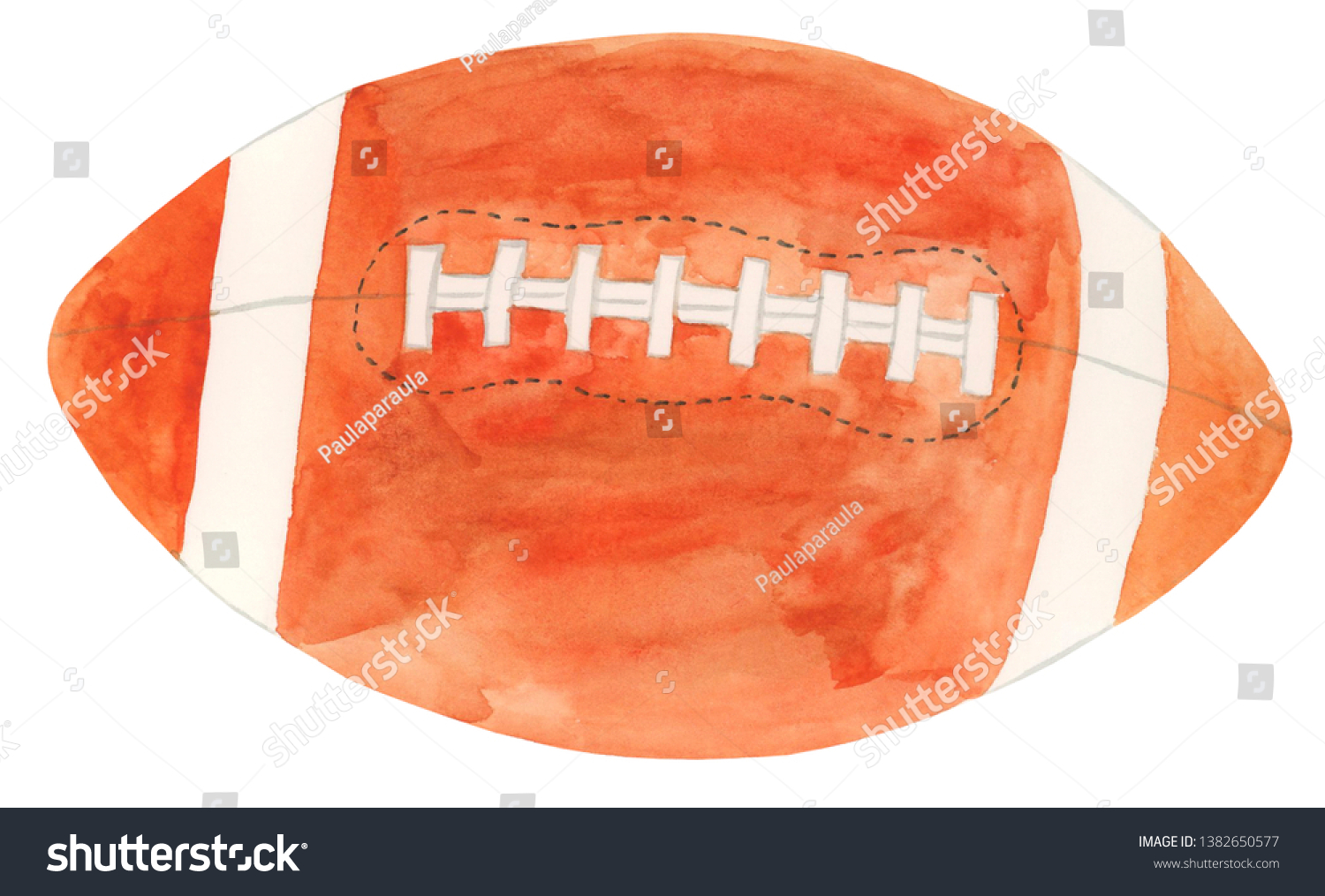 Watercolor Rugby Ball Illustration Rugby Ball Stock Illustration 1382650577