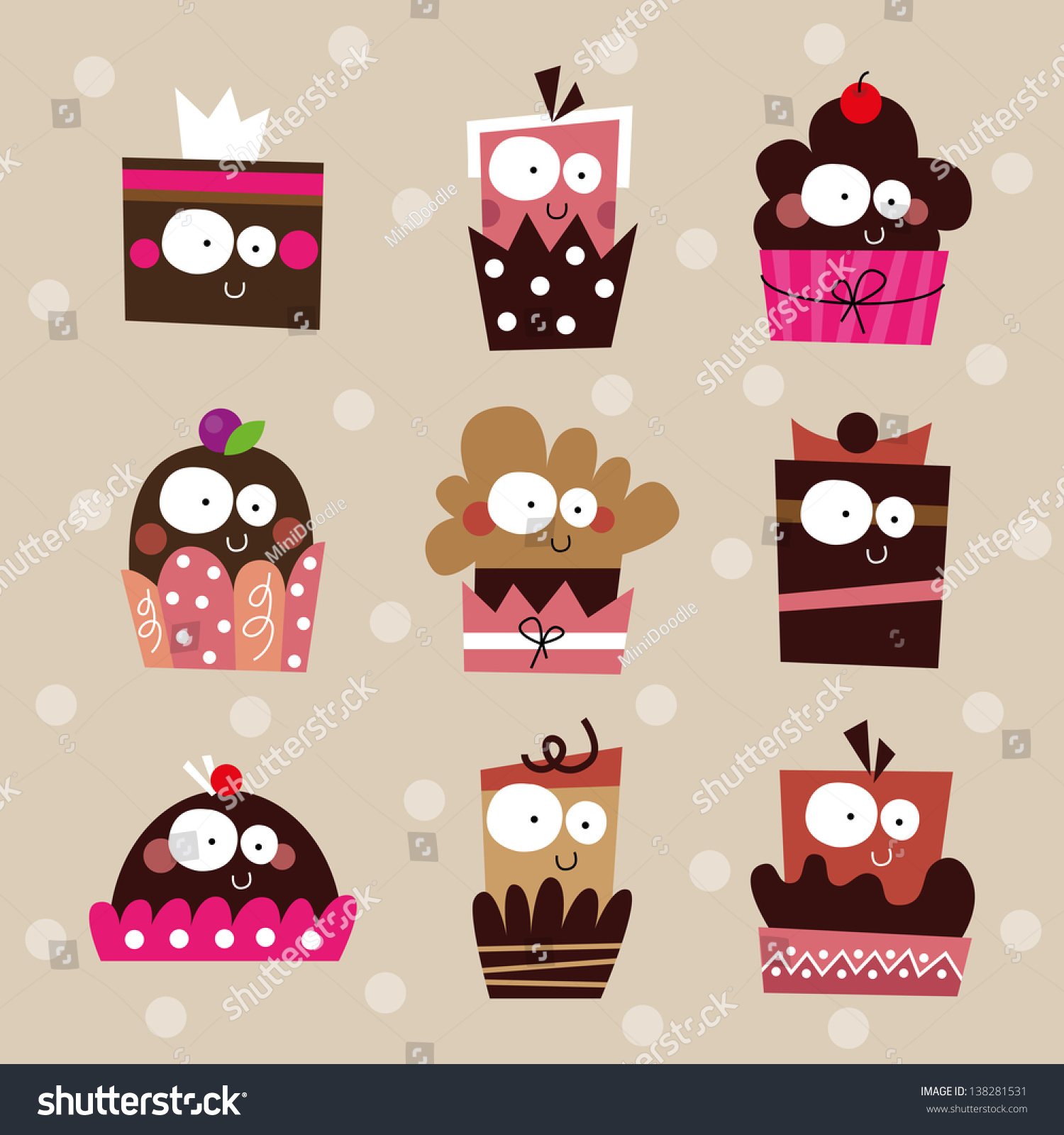 Cute Cupcake Set Birthday Cakes Collection Stock Vector