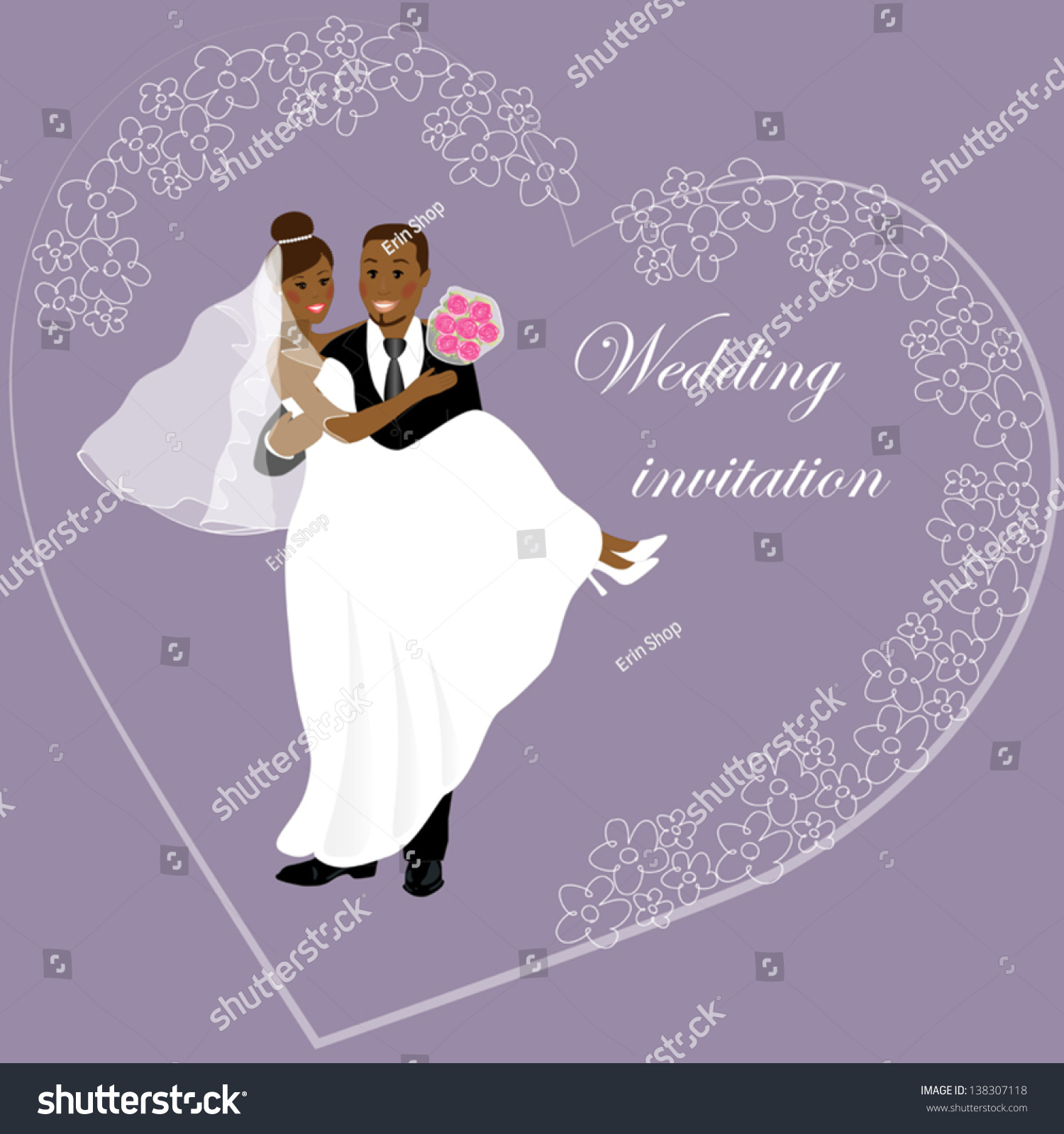 Wedding African Couple Decoration Wedding Invitation Stock Vector ...