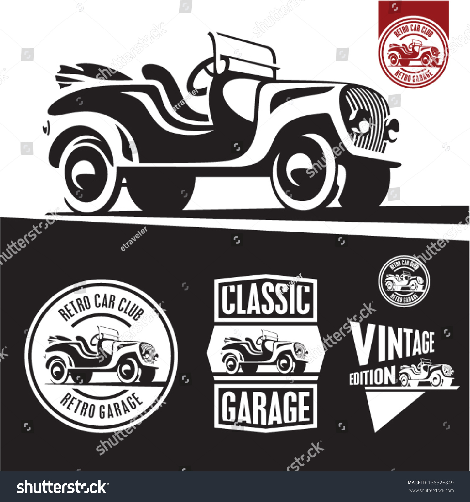 Royalty-free Classic car isolated vector. Retro… #138326849 Stock ...