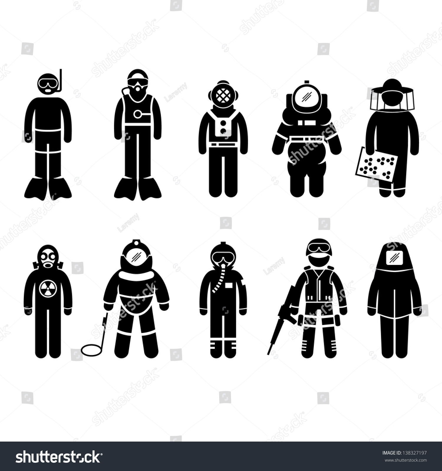 scuba diving dive deep sea spacesuit stock vector