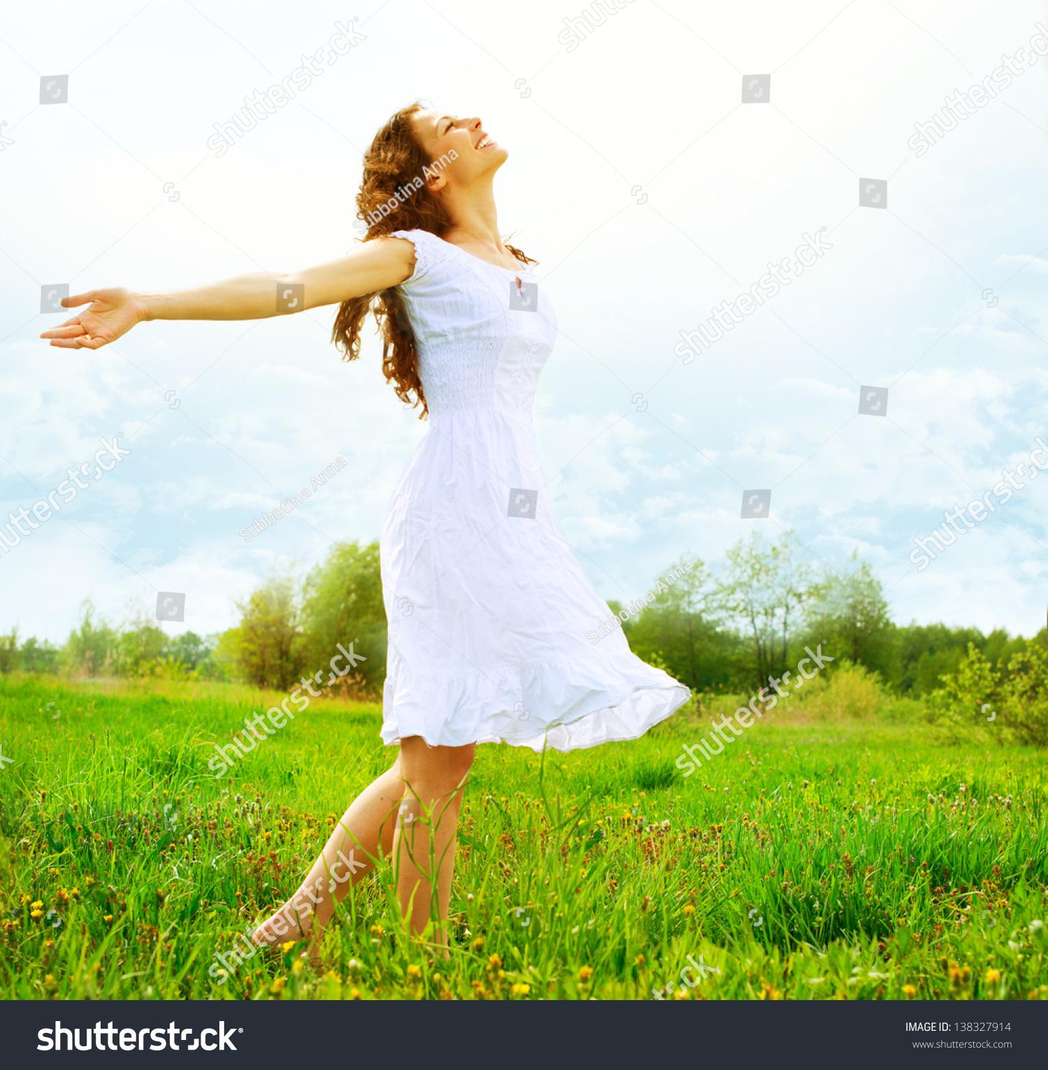 Enjoyment Free Happy Woman Enjoying Nature Stock Photo Edit Now 138327914