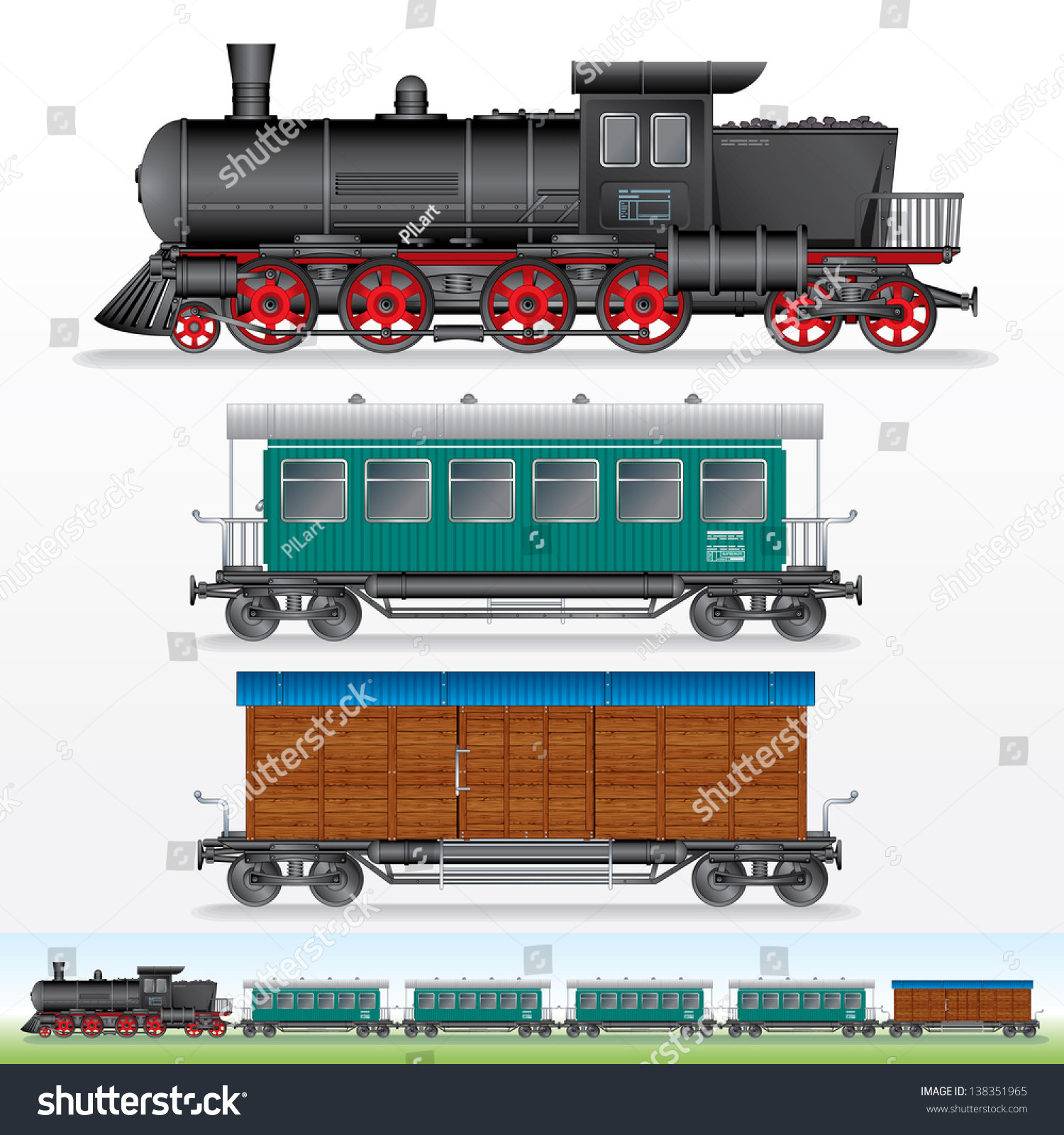 Train car side view login to view prices realised - Retro Train Vector Image Of Steam Lokomotive With Railway Cargo Waggon And Passenger Car