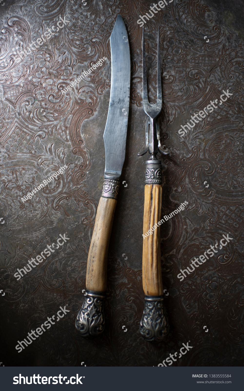 Bonehandled Carving Knife Fork On Engraved Miscellaneous Stock Image 1383555584