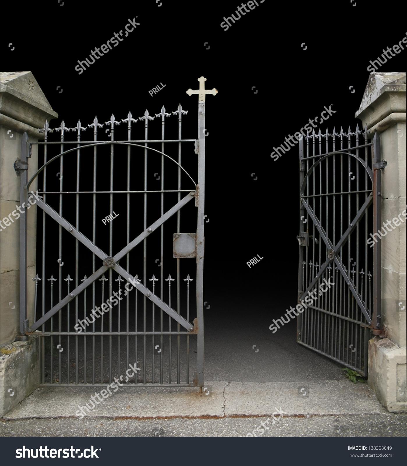 Entrance Graveyard Open Wroughtiron Gate Dark Stock Photo