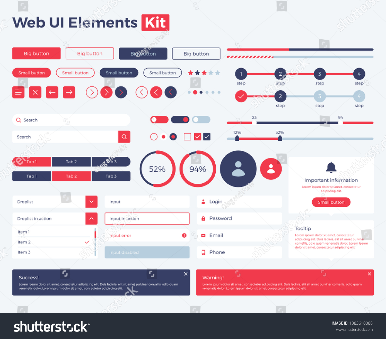 Big Huge Enhanced Ui Kit Web Stock Vector (Royalty Free