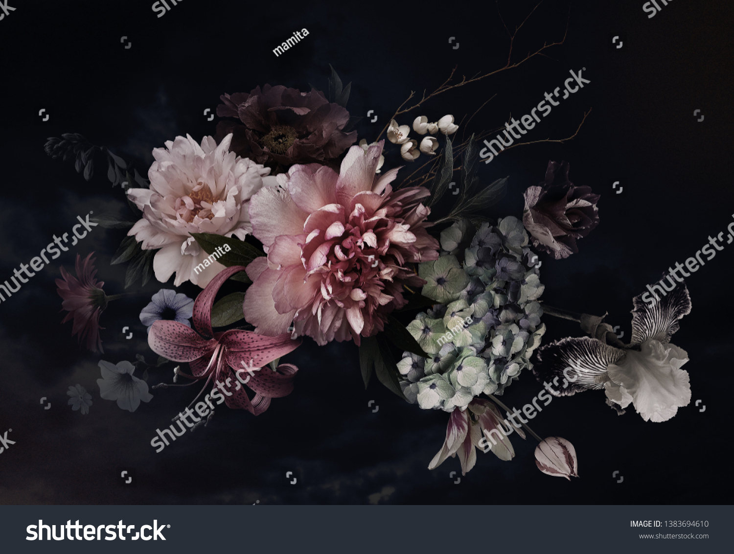 Vintage flowers. Peonies, tulips, lily, hydrangea on black. Floral background. Baroque style floristic illustration. #1383694610