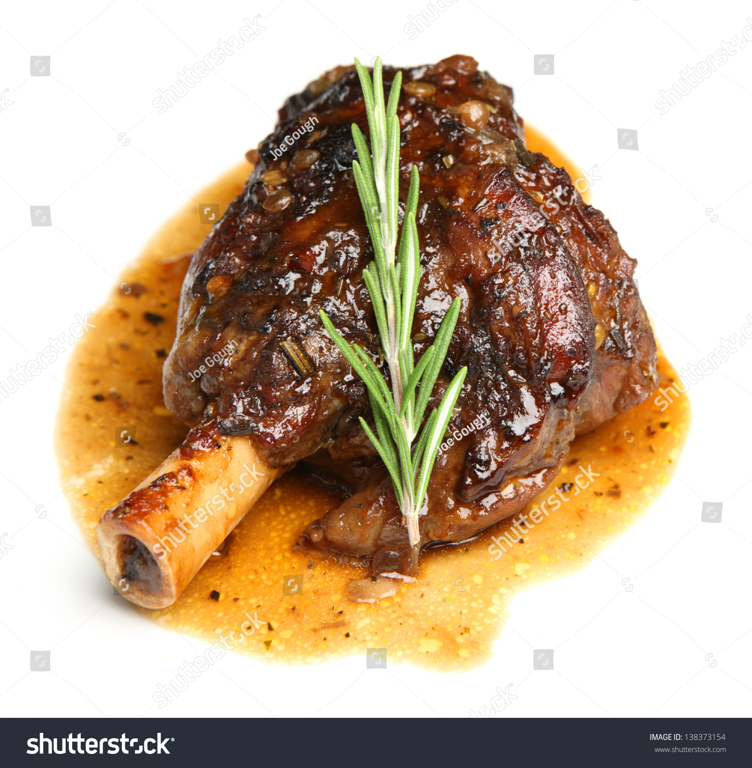 Lamb shank braised onion jus stock photo 138373154 for Lamb jus