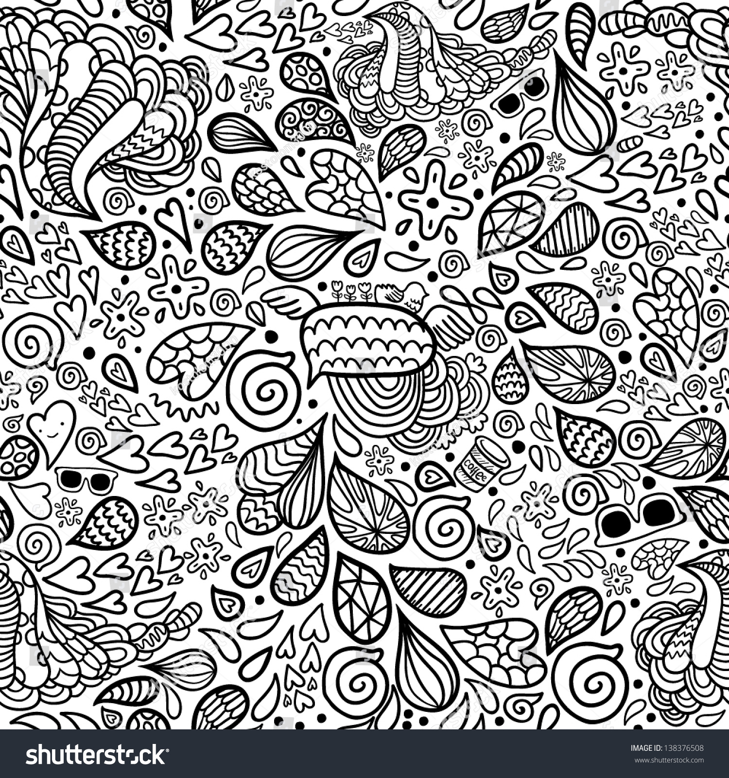Cool Cute Cartoon Doodle Hipster Seamless Pattern Stock Vector With Coloring Book Wallpaper