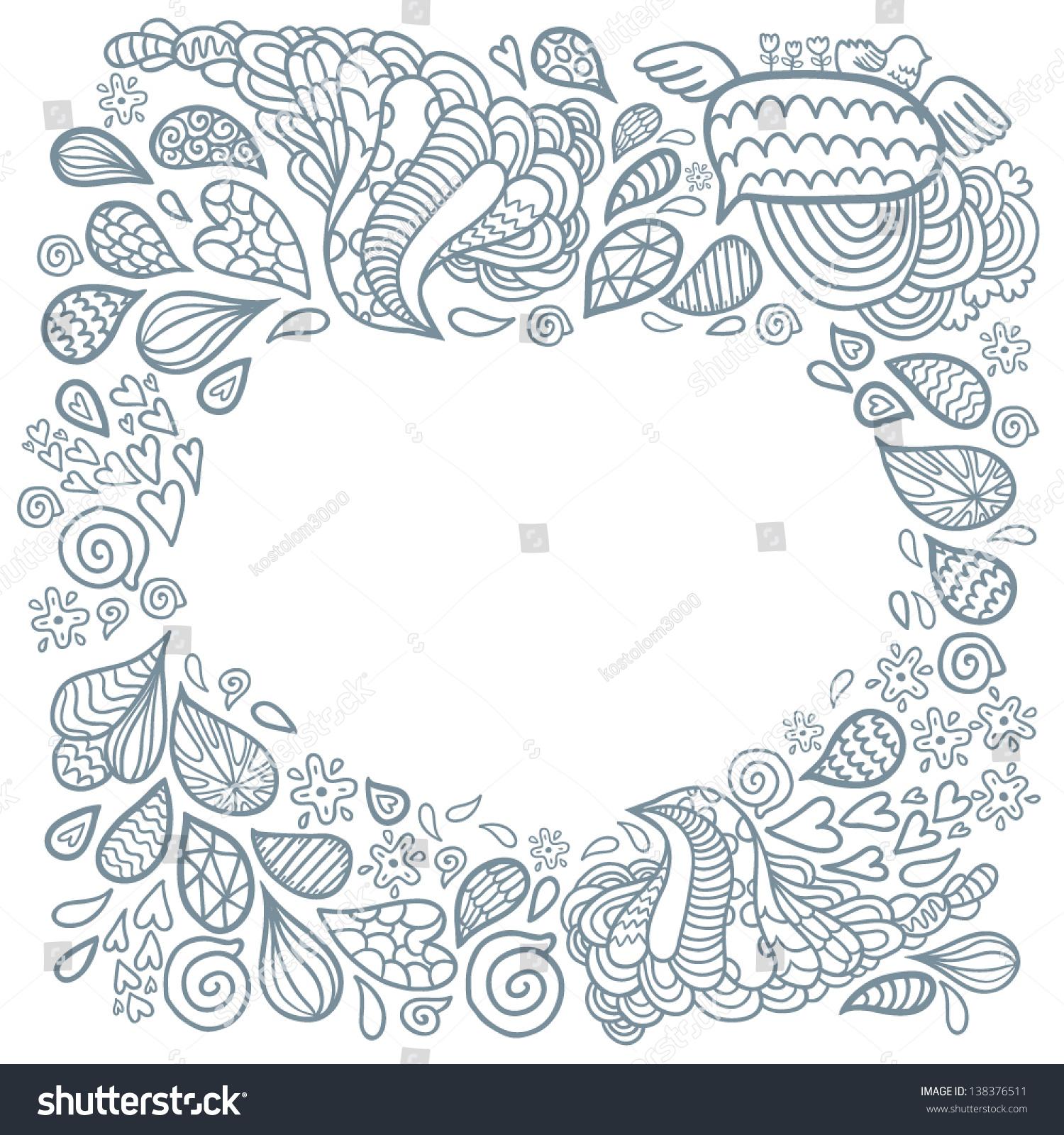 Cute Cartoon Doodle Frame Doodle Background Stock Vector (Royalty ...