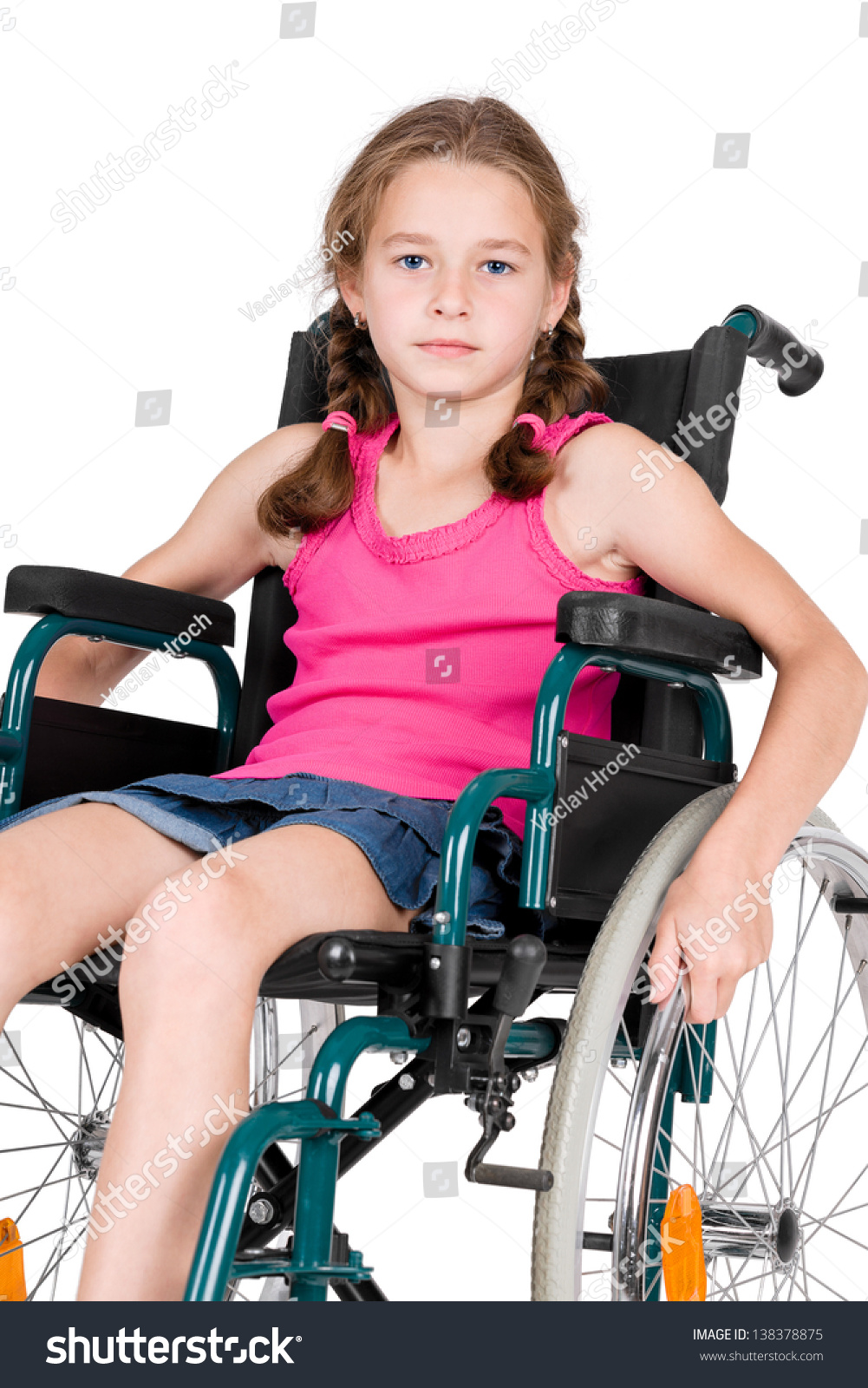 Young handicapped girl wheelchair over white stock photo for Handicapped wheelchair