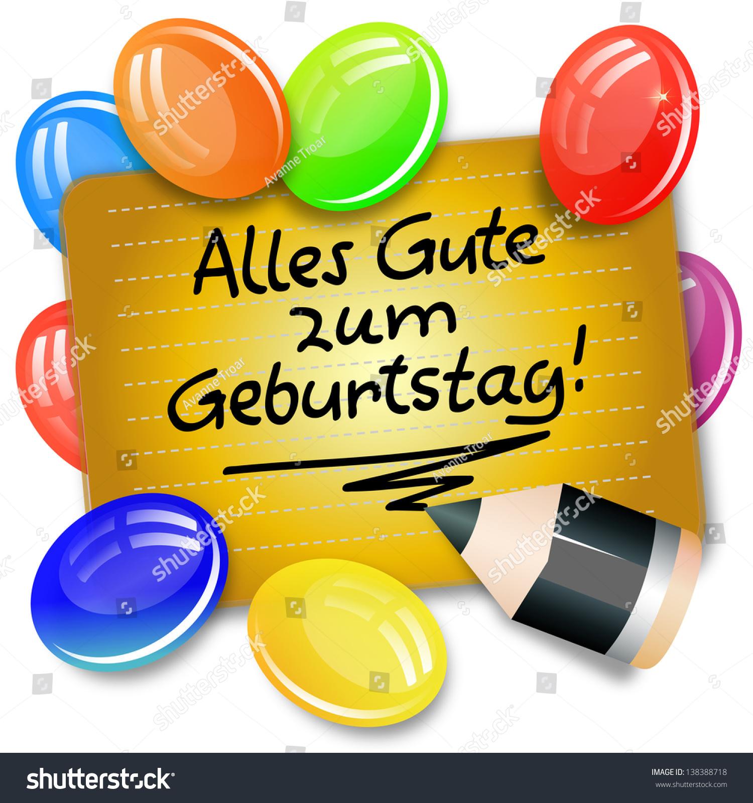 Card Handwritten Note German Language Alles Illustration – Birthday Card in German