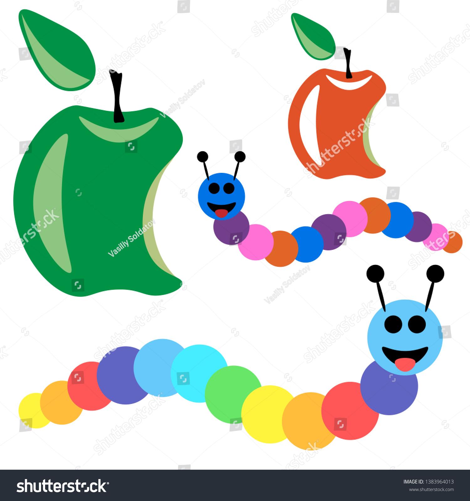 Colored Cartoon Caterpillar Bitten Apple Smiling Stock Vector