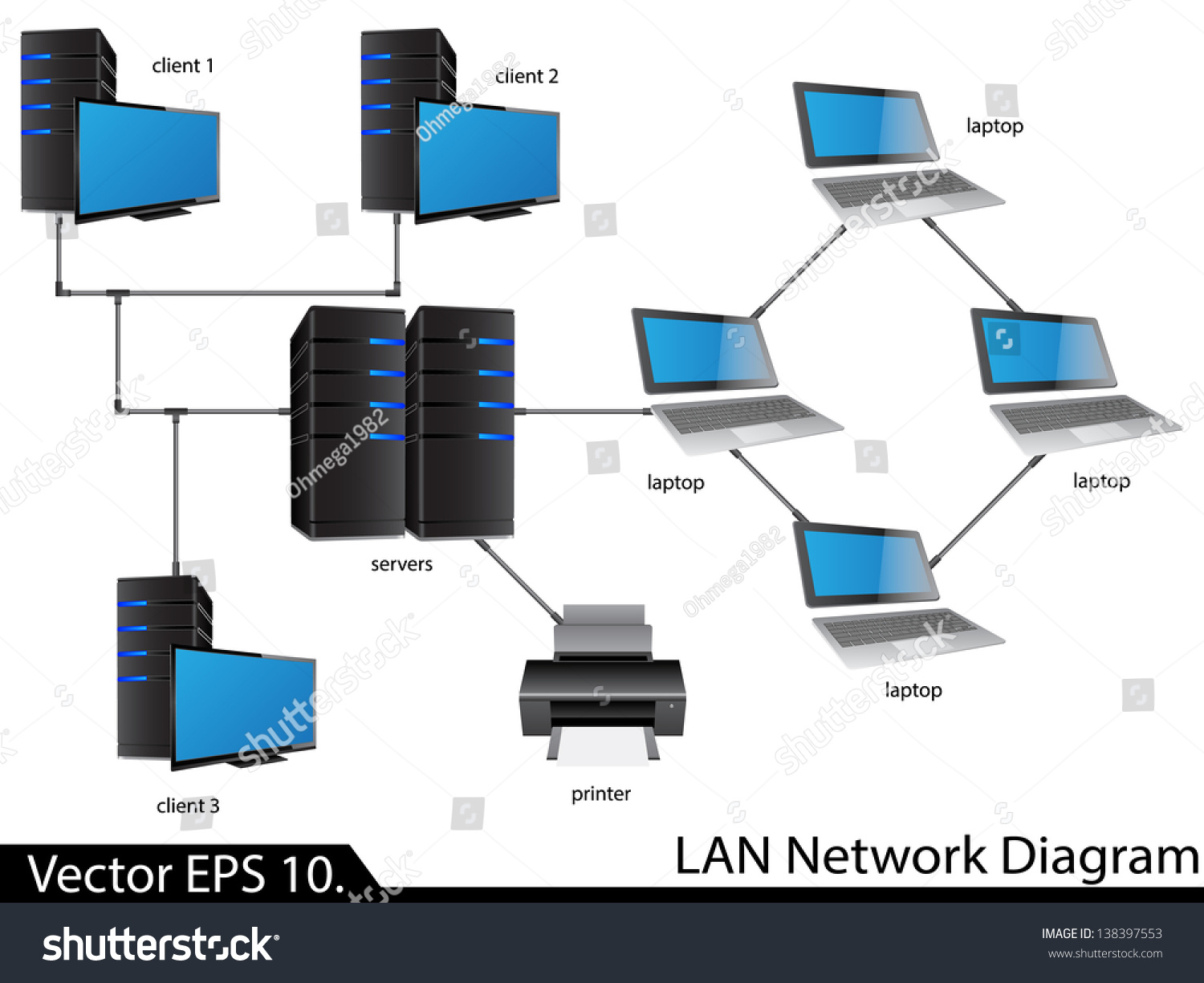 Lan Network Diagram Vector Illustrator Eps Stock Vector 138397553
