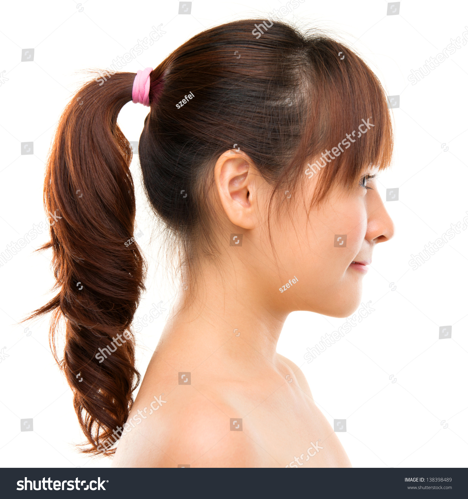 Profile View Of Face Of Young Beautiful Asian Woman Stock
