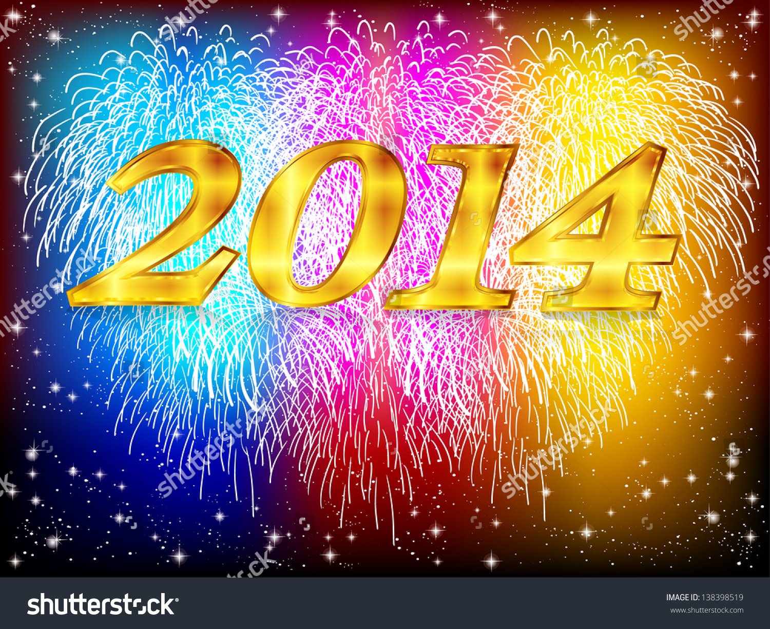 2014 fireworks background stock vector 138398519
