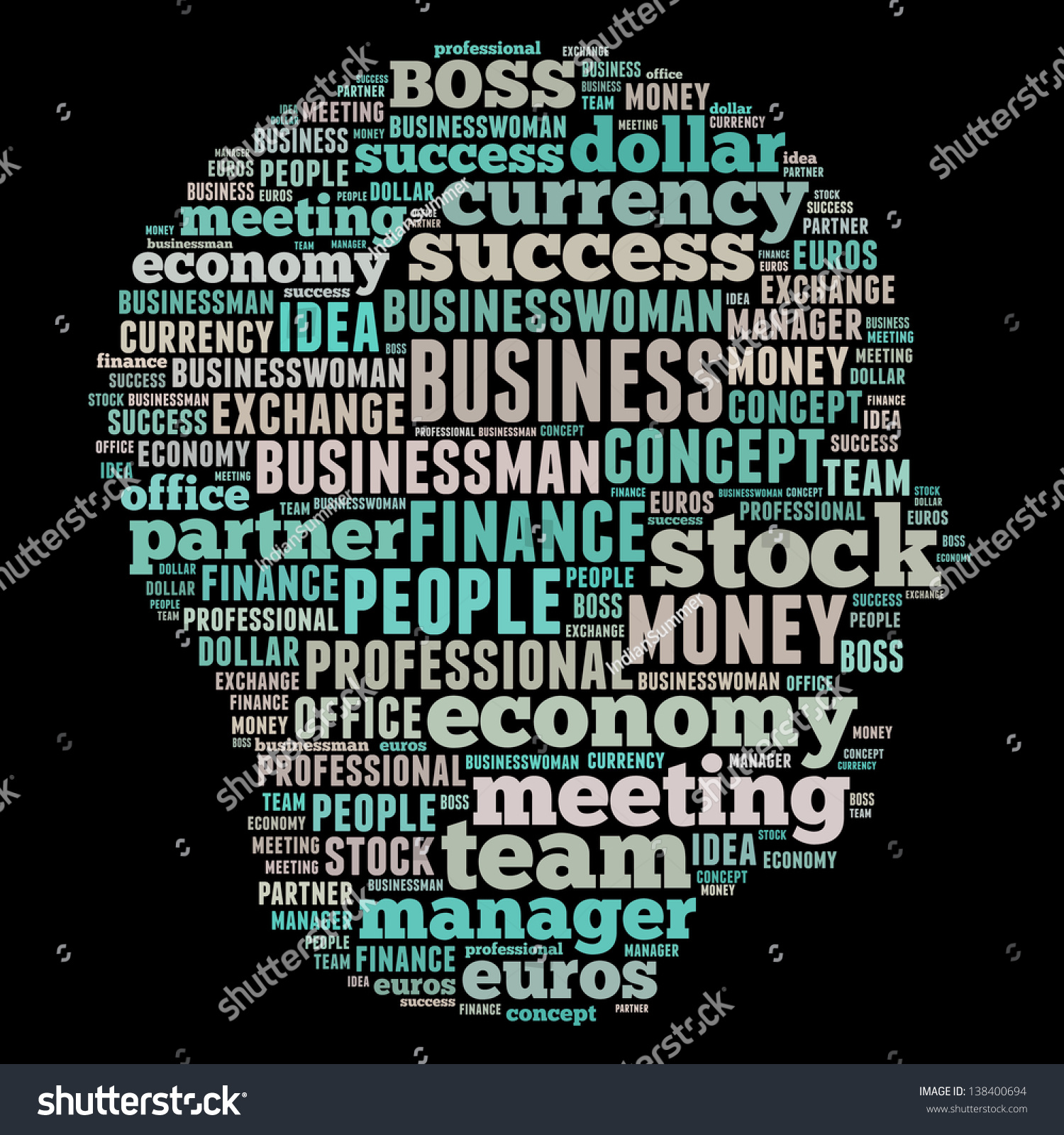 Finance Words: Business & Finance Related Word Art Head Stock Photo