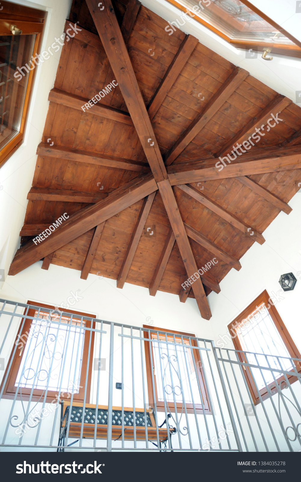 Ceiling Wooden Beams Interior Design Stock Photo Edit Now 1384035278